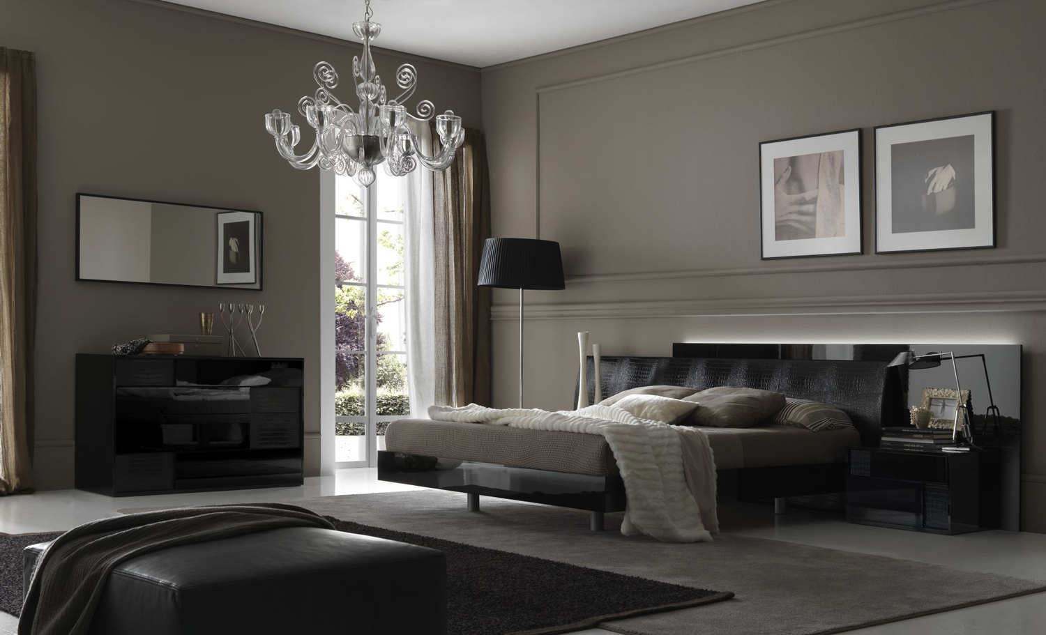 Murano Glass Chandelier In Masculine Bedroom Design Idea Feat Modern Bed  Furniture Set And Narrow Wall