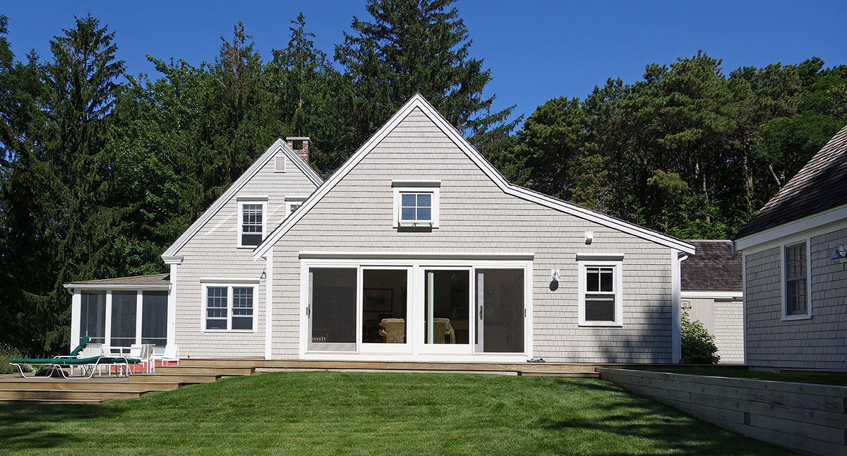 Neutral Cream Home Paint Color With Glass Sliding Doors Also French Windows Plus Salt Box Roof & Neutral Cream Home Paint Color With Glass Sliding Doors Also French ...