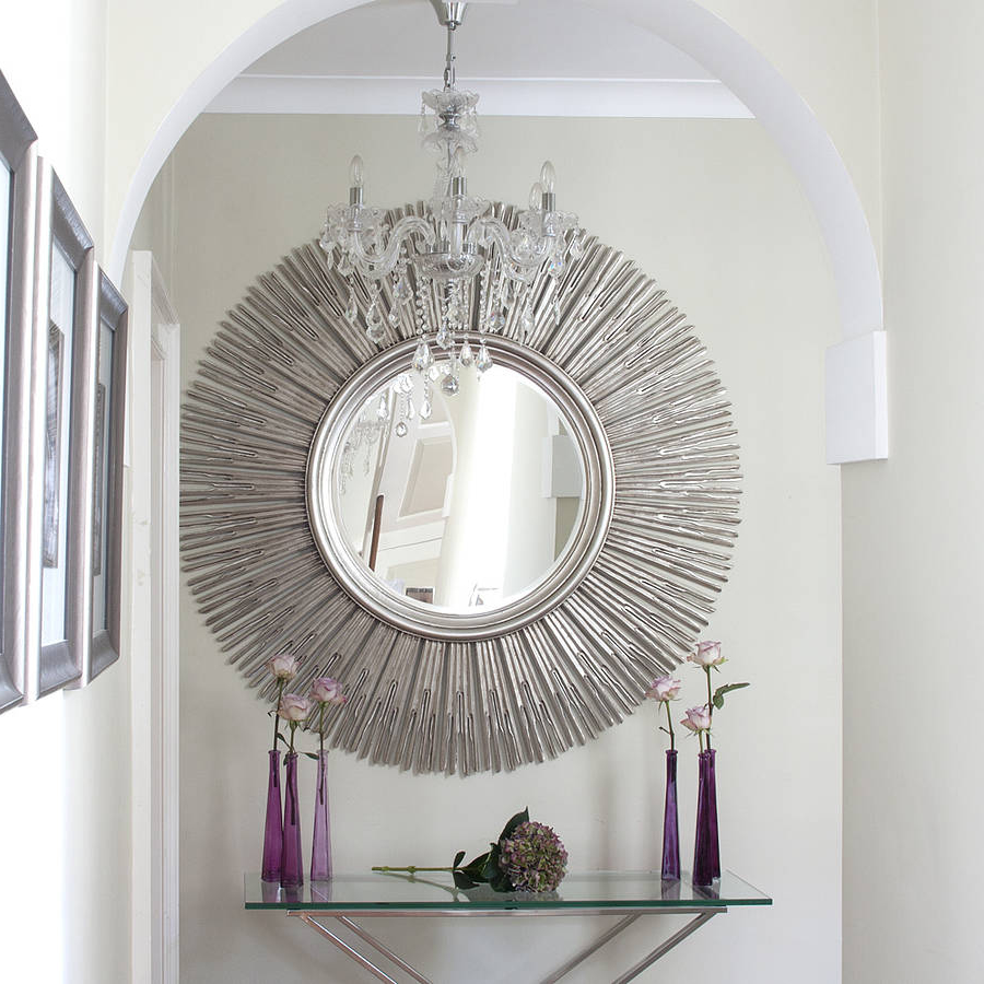 Plain white wall paint color background with crystal chandelier plain white wall paint color background with crystal chandelier also decorative round sunburst mirror over acrylic arubaitofo Gallery