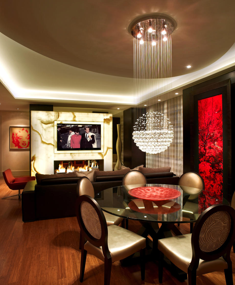Posh Low Ceiling Light Idea Plus Round Dining Table With Glass Top Design And Electric Fireplace