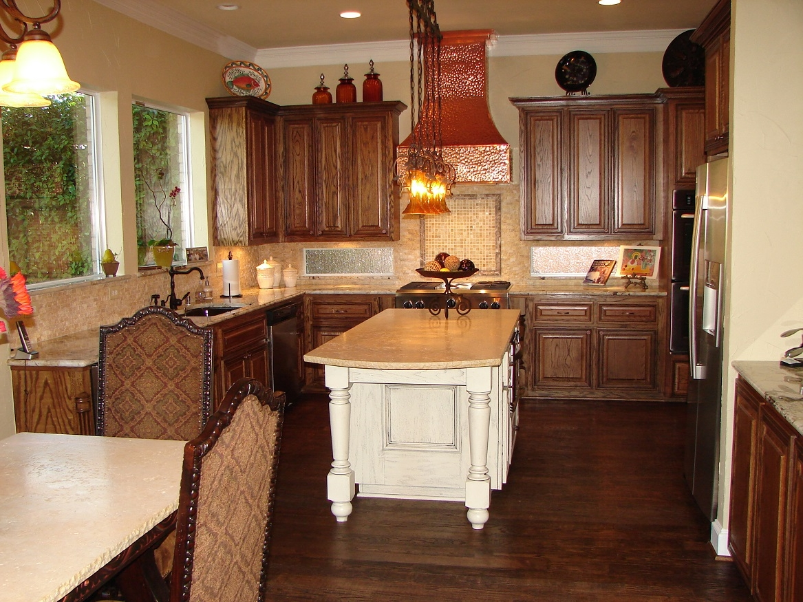 Romantic Low Ceiling Lighting Idea Feat Red Range Hood And Compact French Country Kitchen With White