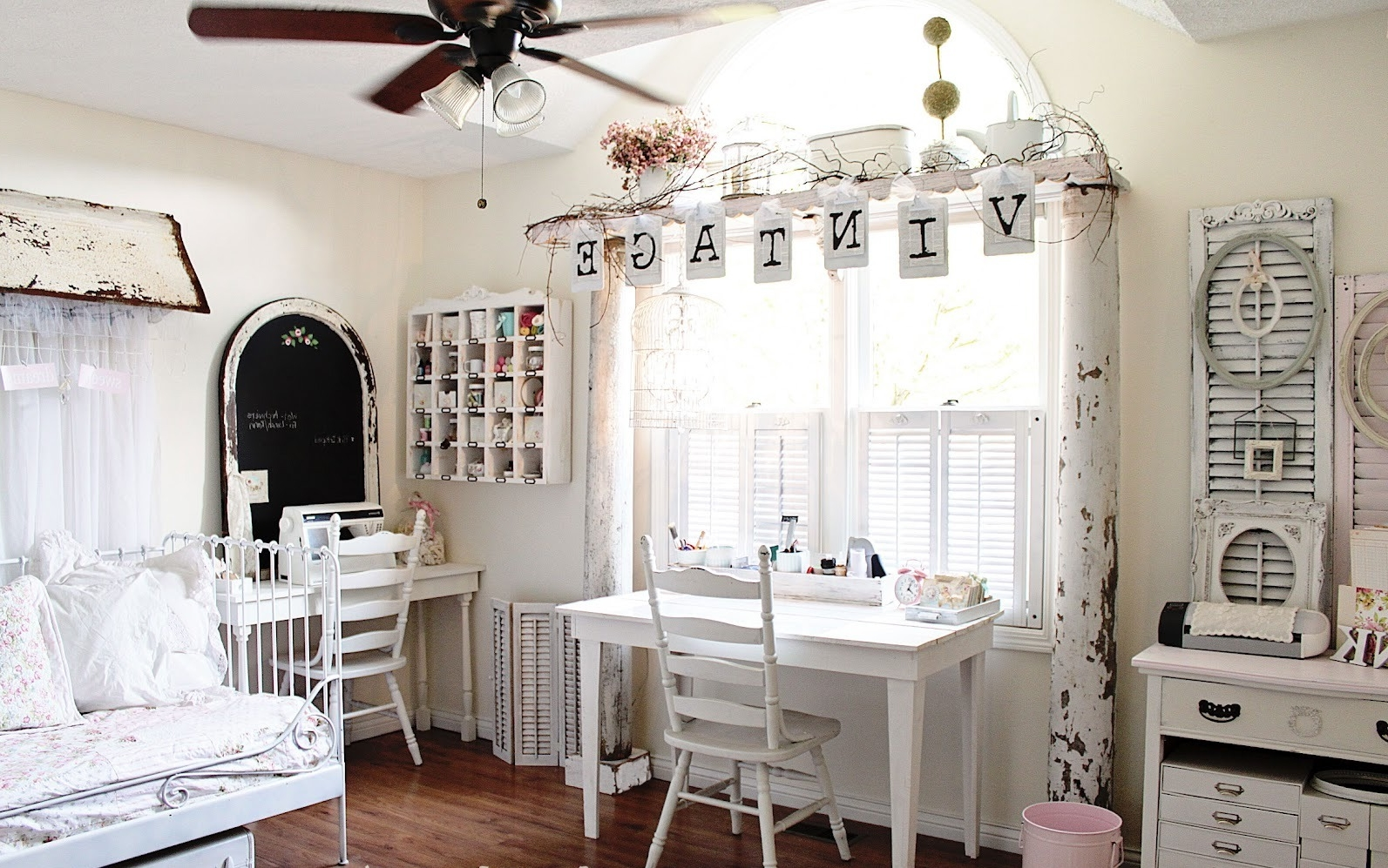 shabby chic vintage teen room with louver door and cubicle shelves