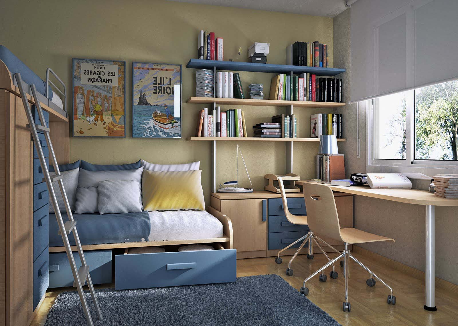 Stylish desk for two idea also wall mounted bookshelf and for Study room design ideas blue