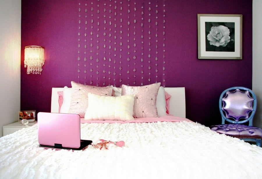 Unique Beaded Headboard Curtain Plus Crystal Lamp Shade Design And Best Age Room Decor Idea