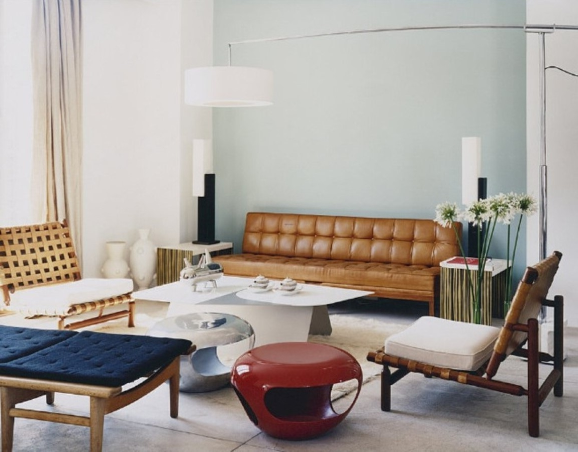 unique retro living room interior set with tolomeo floor lamp plus, Living room