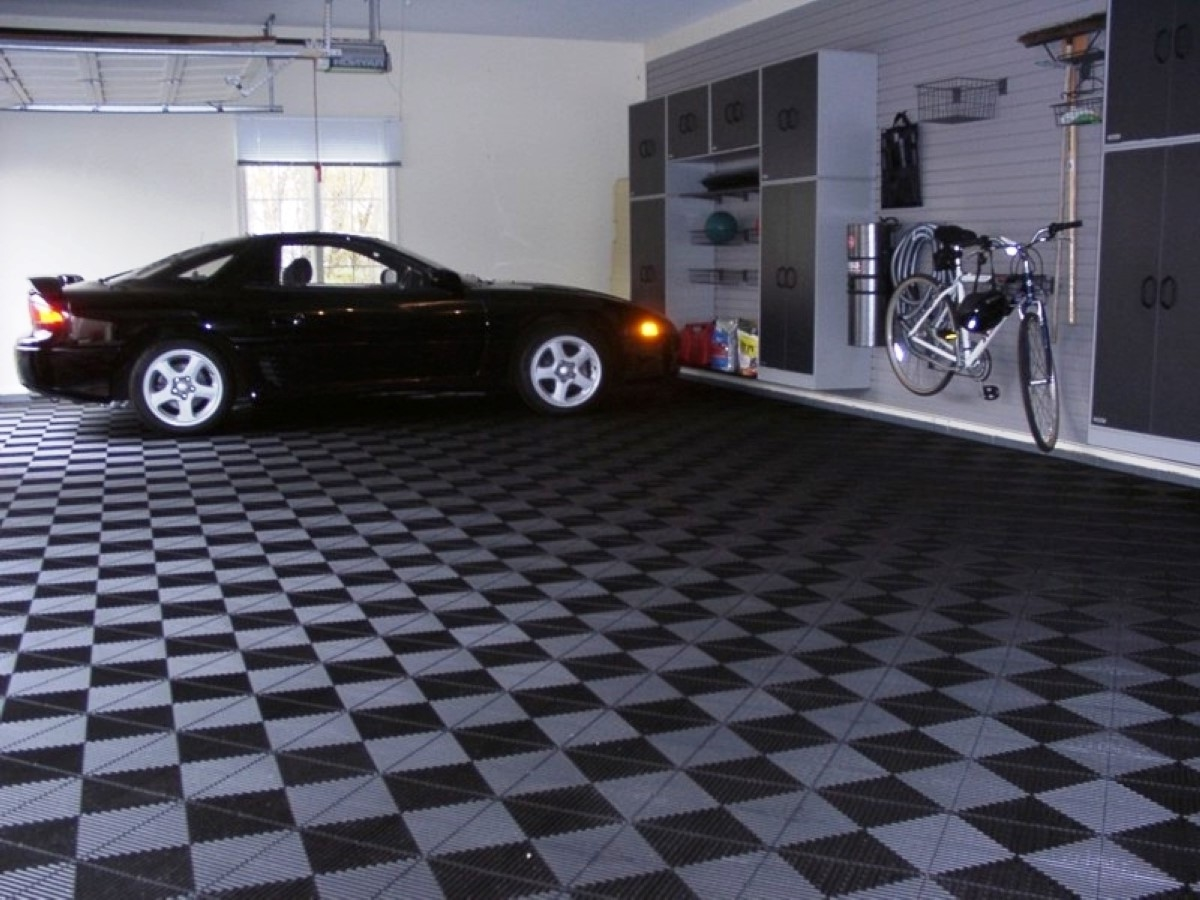 wide grey checkered garage floor tile with white wall paint color