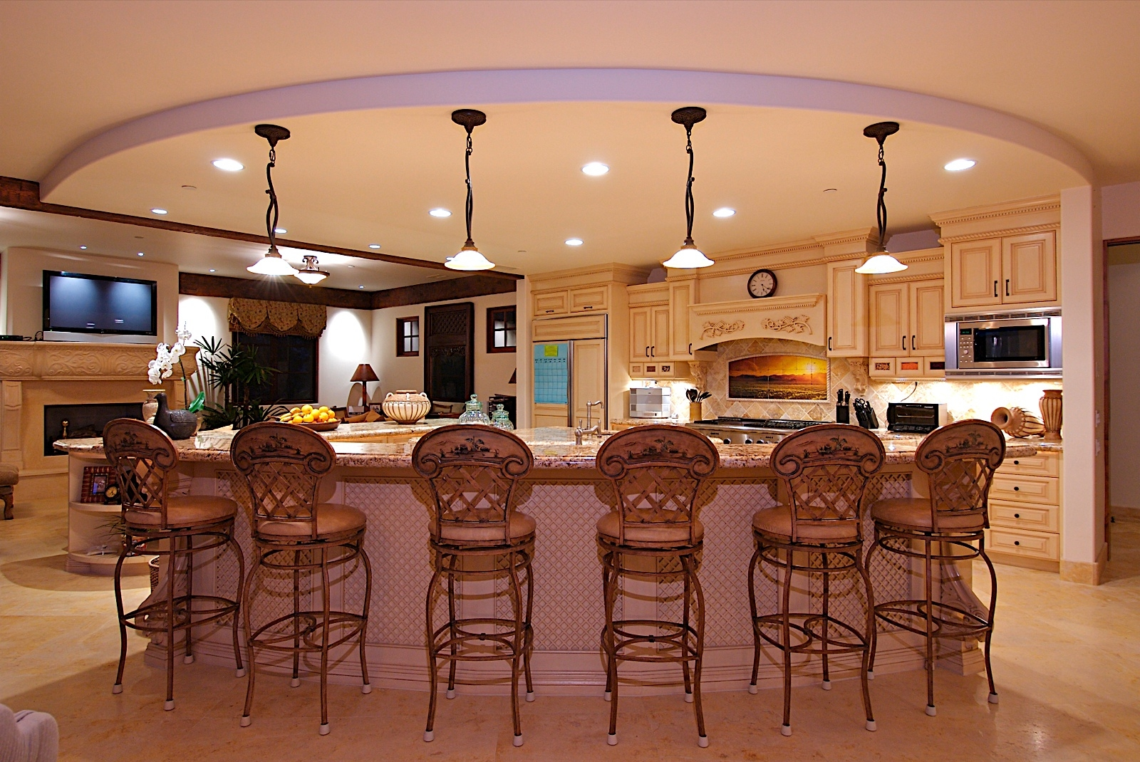 Wide round dropped ceiling with white lighting also for Kitchen ideas no island