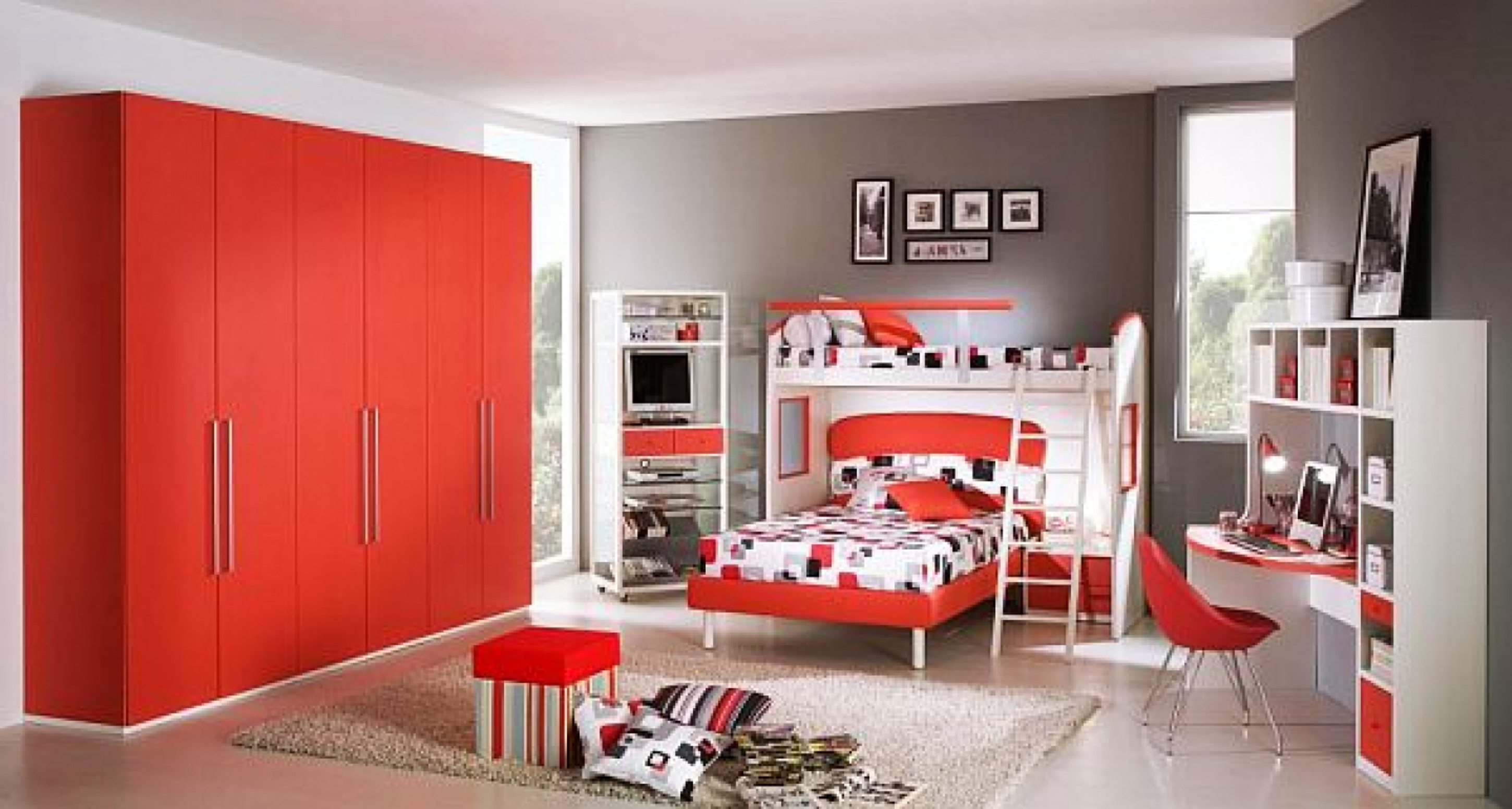 Kids Bedroom Awesome Boys Bedroom Decoration Idea With Red Wardrone Red White Bunk Bed And Gray Wall Impressive Boys Bedroom Decoration Ideas (View 20 of 28)