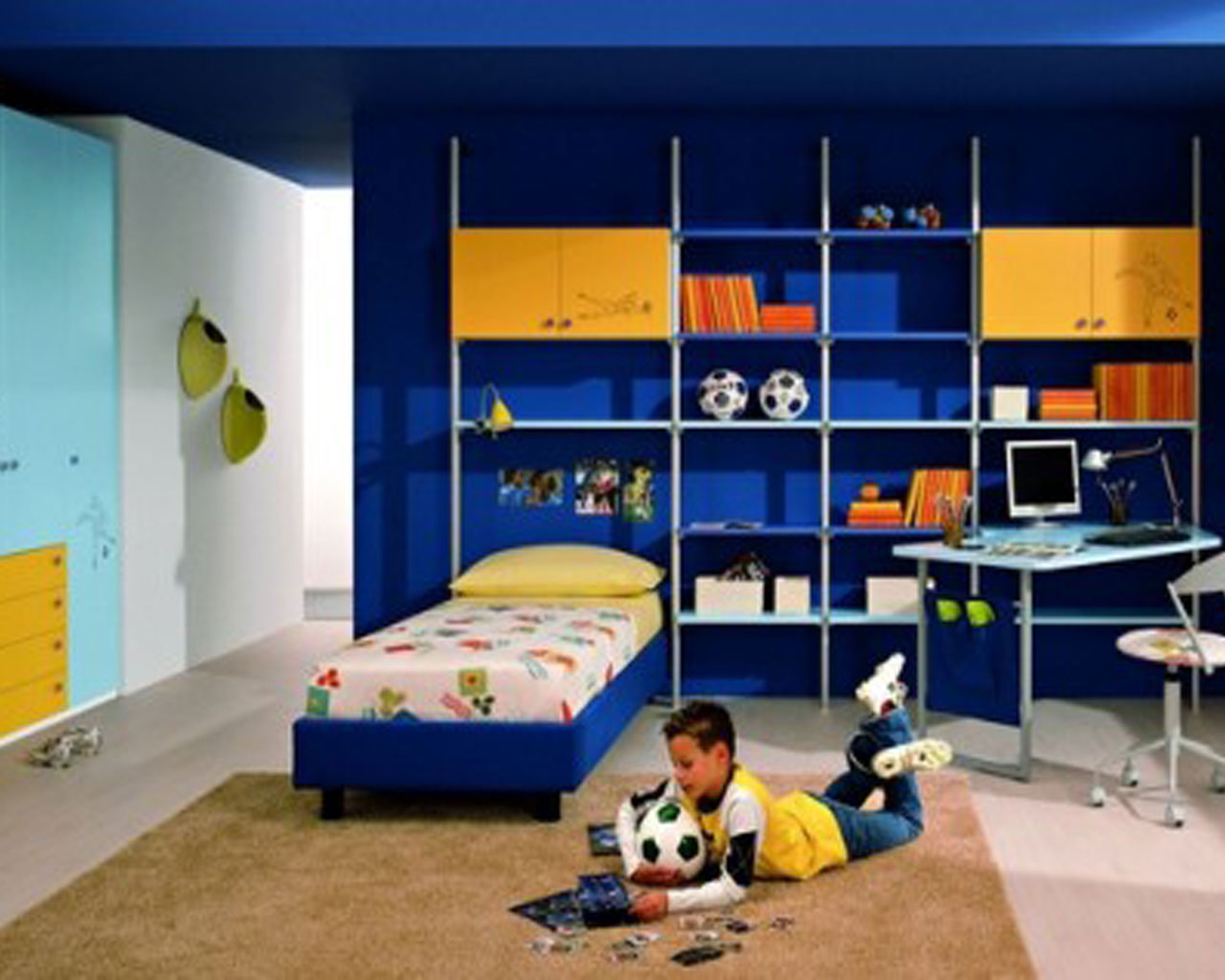 Kids Bedroom Comfortable Boys Bedroom Decoration Idea With Light Brown Rug Whitebed Sheet With Yellow Pillows And White Table With Computer Impressive Boys Bedroom Decoration Ideas (Image 3 of 28)