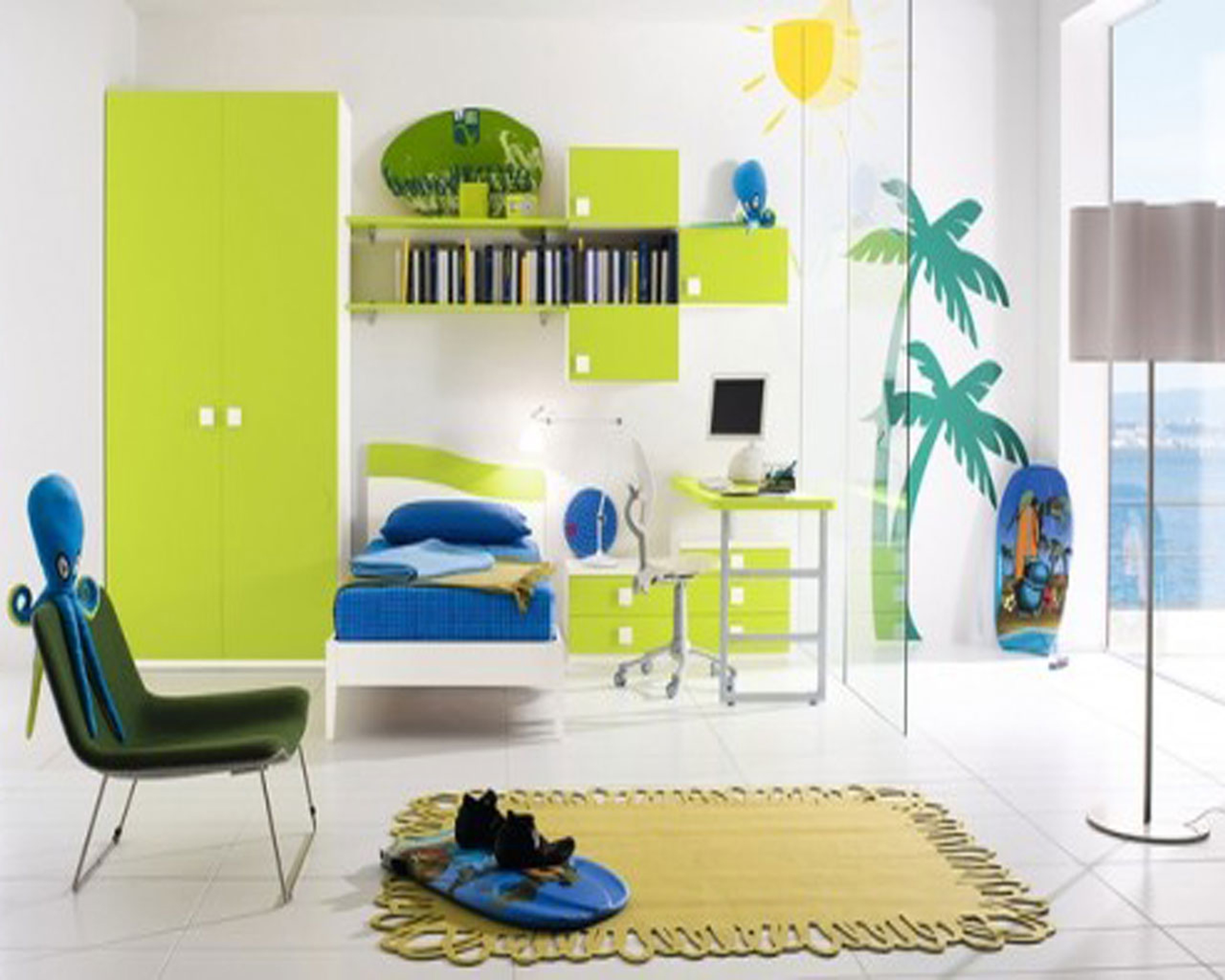 Kids Bedroom Cool Beach Themed Boys Bedroom Decoration Idea With White Wall With Green Coconut Tree Motive Dark Blue Bed And Light Green Wardrobe Impressive Boys Bedroom Decoration Idea (View 23 of 28)