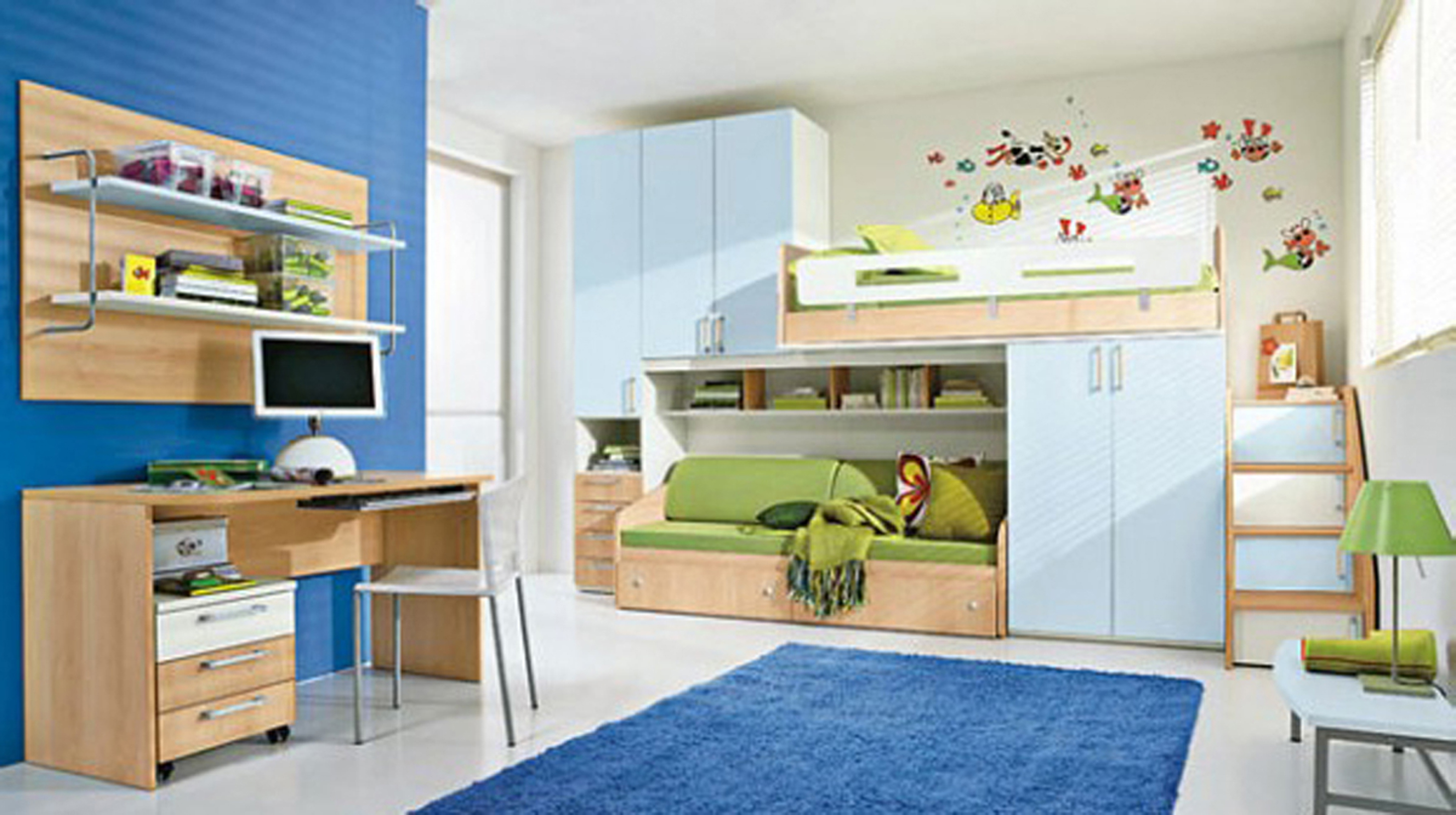 Kids Bedroom Cool Boys Bedroom Decoration Idea With Light Blue Wardrobe Dark Blue Rug And Brown Study Table With White Chair Impressive Boys Bedroom Decoration Ideas (View 24 of 28)