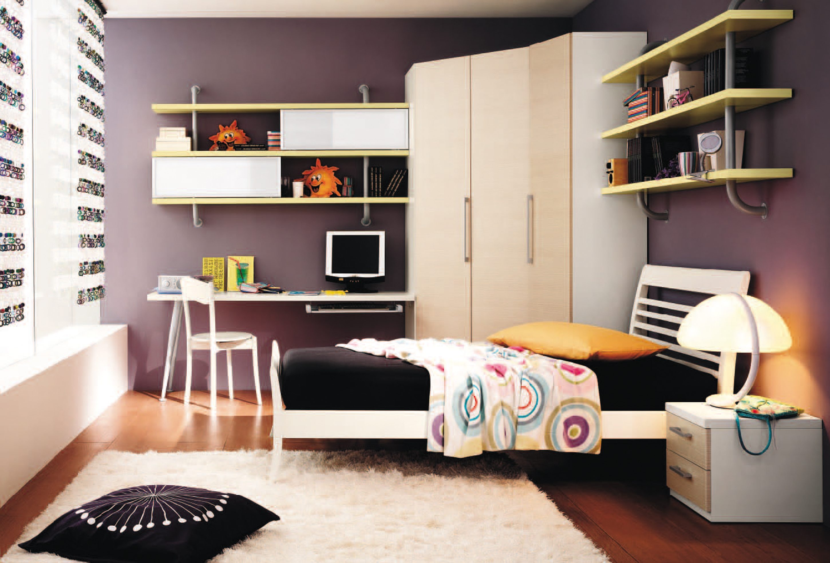 Kids Bedroom Cozy Boys Bedroom Decoration Idea With Black Bed Sheet With Orange Pillow White Nightstnad With White Desk Lamp And White Wardrobe Impressive Boys Bedroom Decoration Idea (View 25 of 28)