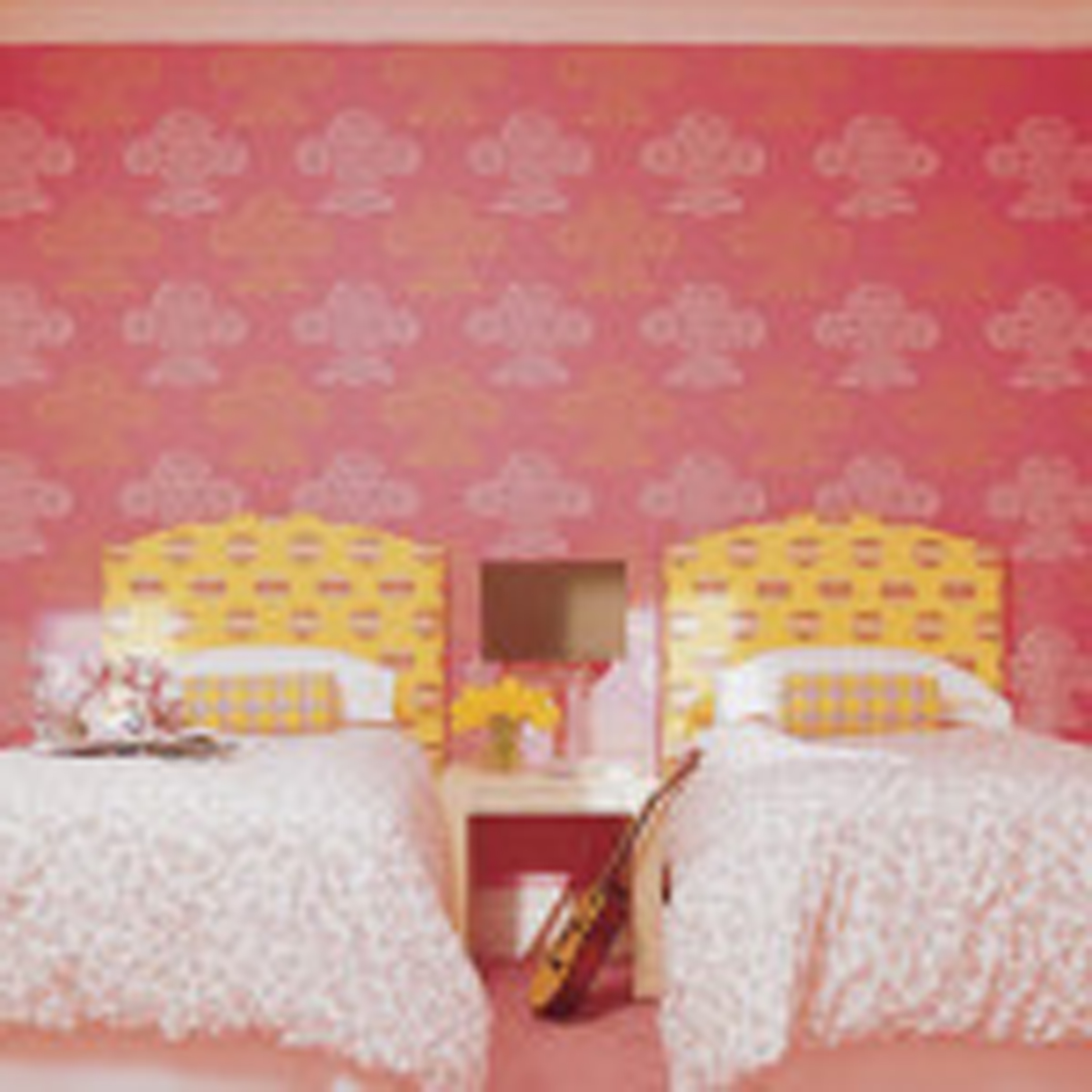 Kids Bedroom Design With Sweet Twin Bed Kids And Beautiful Pink Motif Wallpaper Fancy Fun Furnish And Decoration For Kid Bedroom Design Ideas Kid Bedroom Furniture Kid Beds (View 1 of 28)