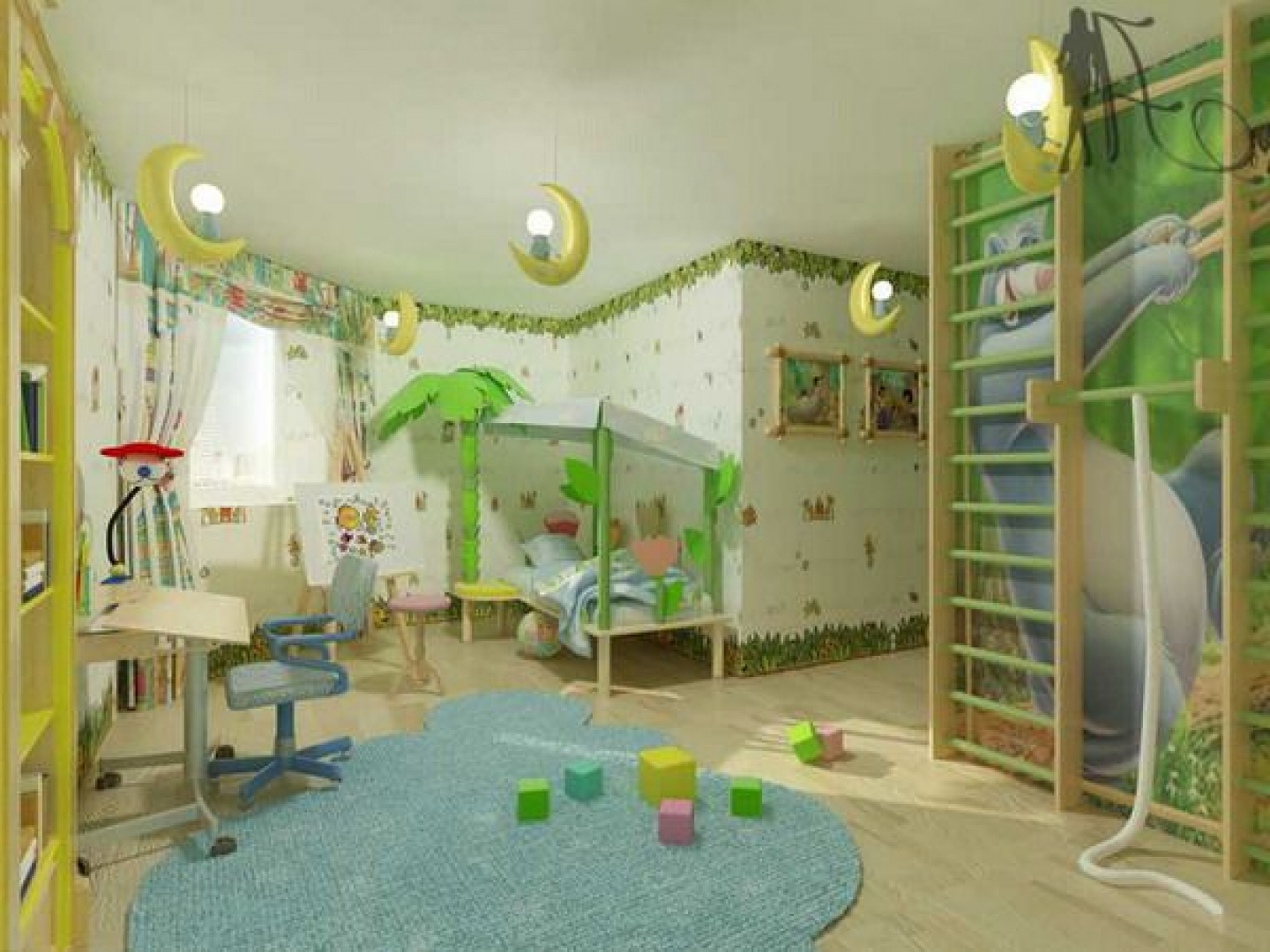 Kids Bedroom Extraordinary Boys Bedroom Decoration Idea With Yellow Moon Pendant Lightscanopy Bed With Green Coconut Tree Light Blue Rug And White Wallpaper Impressive Boys Bedroom D (View 2 of 28)