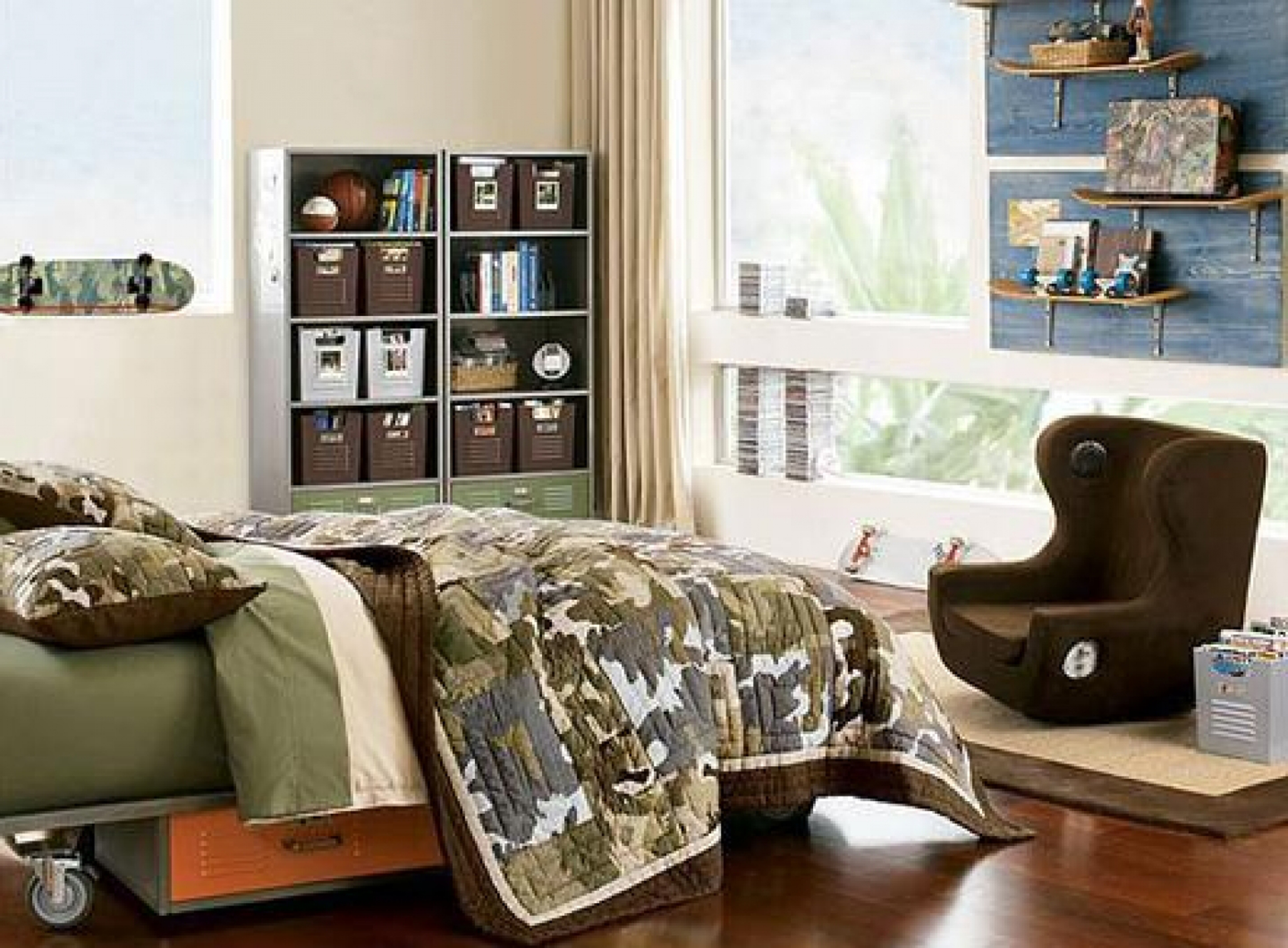 Kids Bedroom Fabulous Boys Bedroom Decoration Idea With Green Bed Cover Chocolate Armchair And White Wall Impressive Boys Bedroom Decoration Ideas (View 3 of 28)