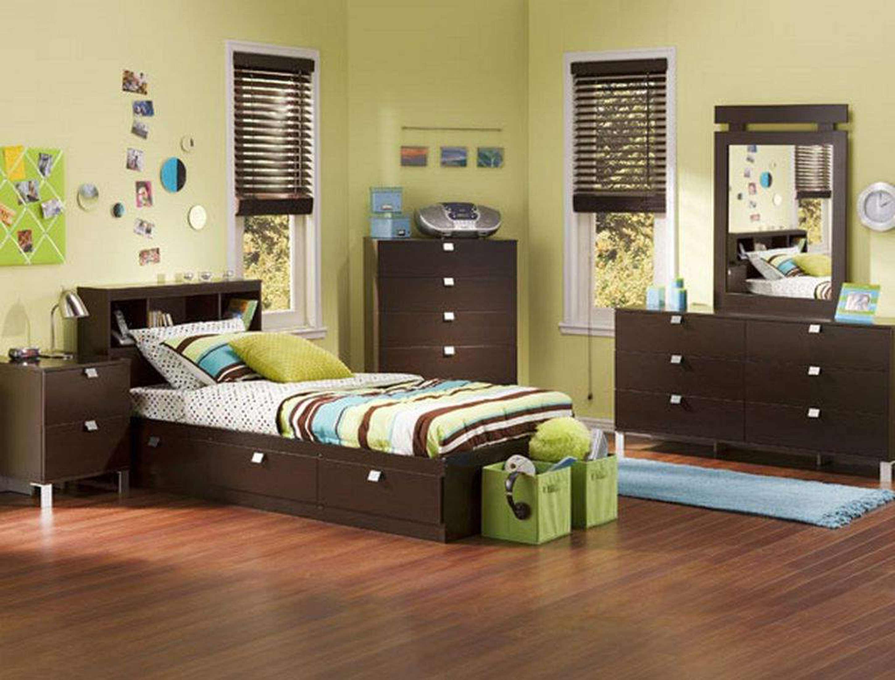 Kids Bedroom Impressive Boys Bedroom Decoration Idea With Chocolate Furniture Light Green Wall And Light Blue Rug Impressive Boys Bedroom Decoration Ideas (View 7 of 28)