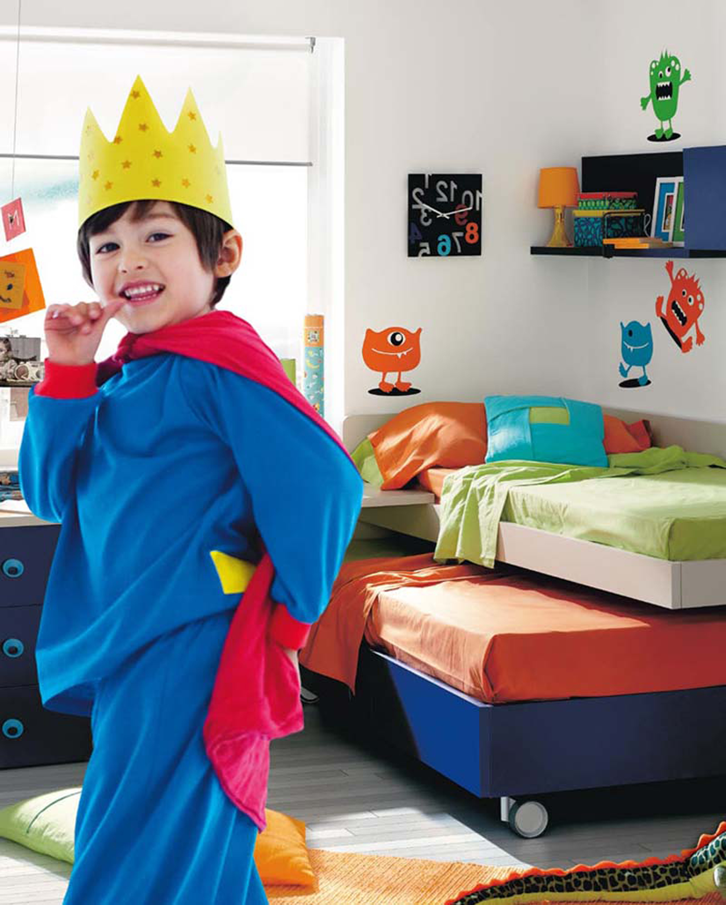 Kids Bedroom Interesting Boys Bedroom Decoration Idea With Blue Orange Bed Sheets With Light Blue Pilloe White Wall With Colorful Monster Motive And Orange Desk Lamp Impressive Boys (View 8 of 28)