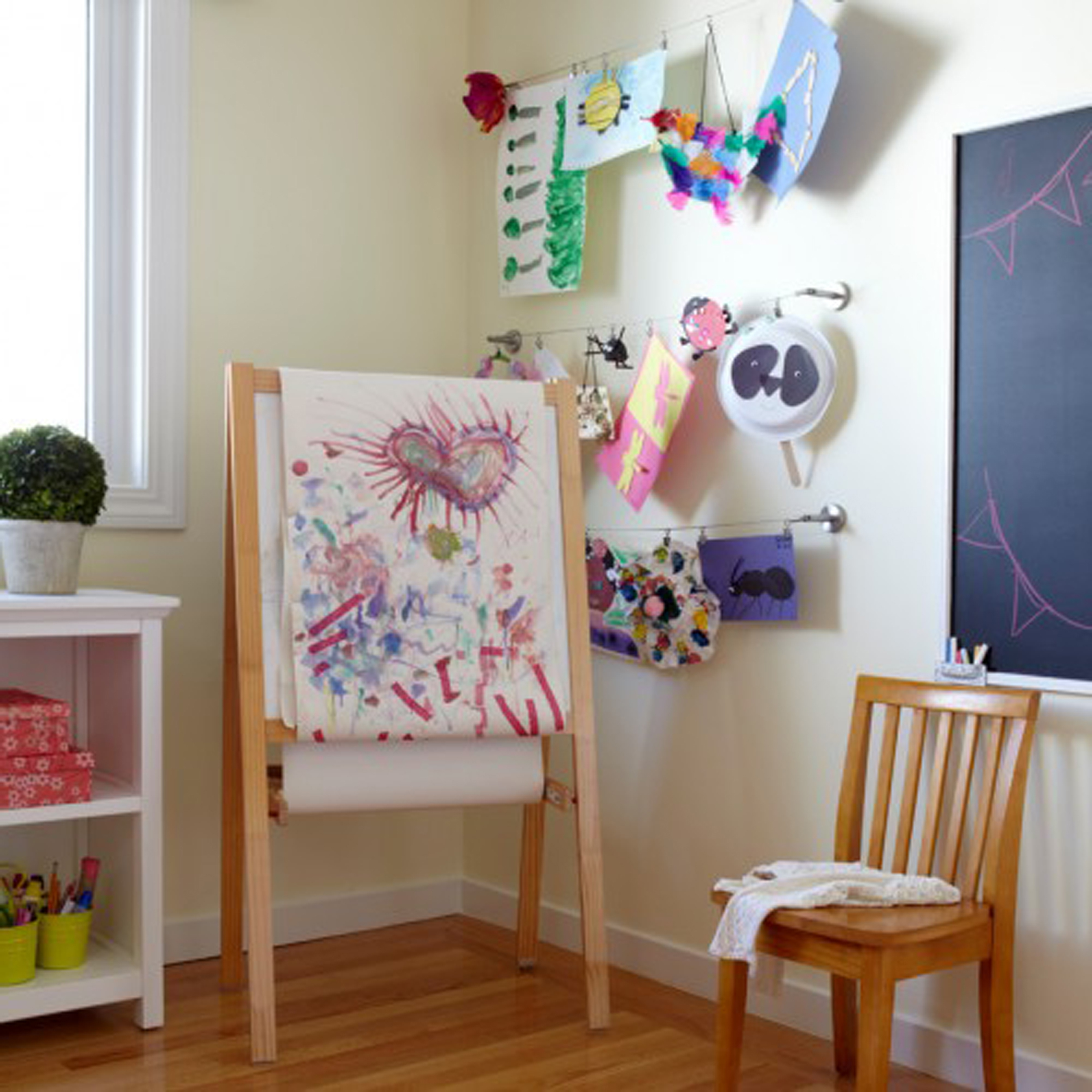 Kids Chalkboard Ideas For Kids Room Decoration And Agreeable Pine Wood Standing Canvas For Drawing Also Interesting Glossy Laminated Wood Flooring Decor (Image 21 of 28)