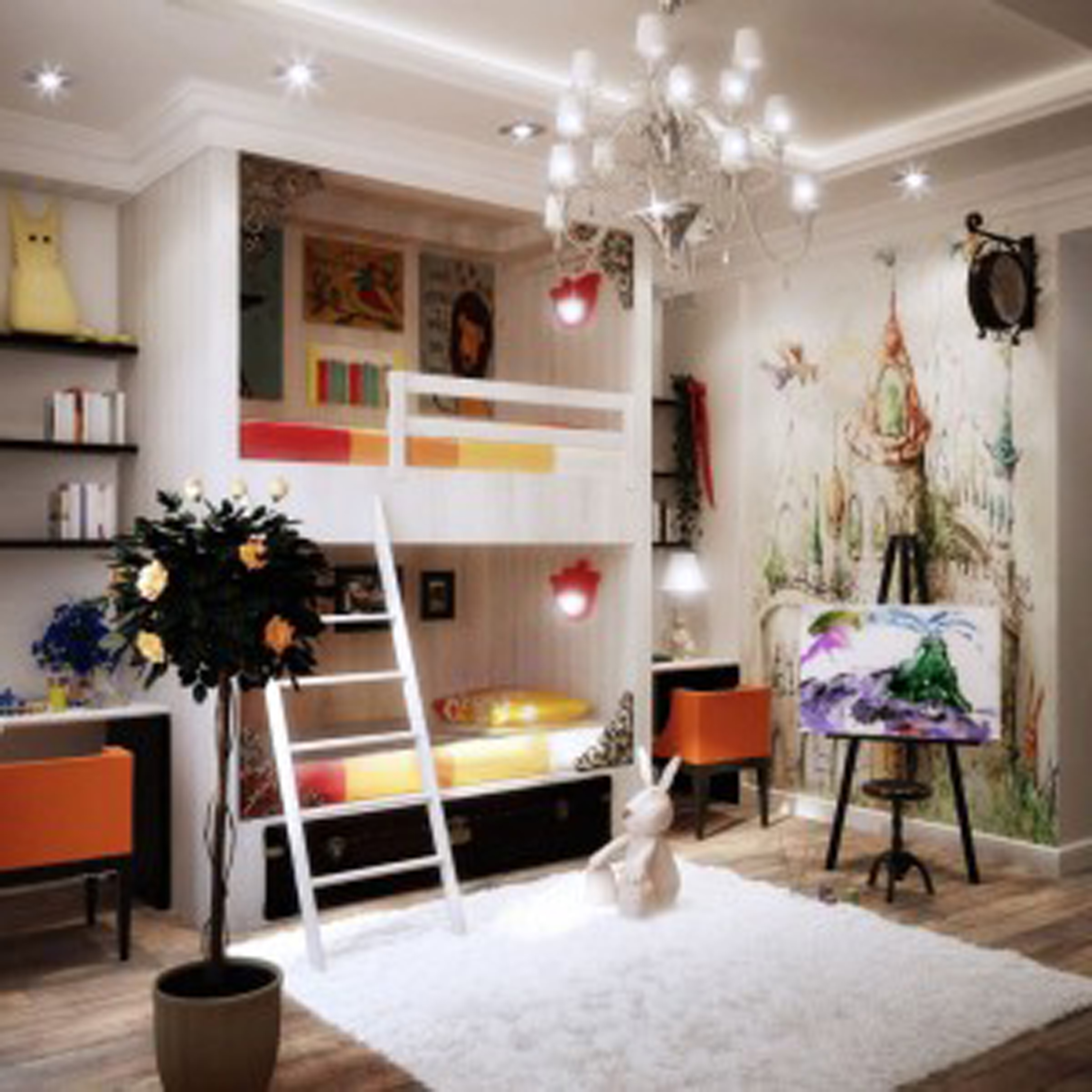 Kids Room Color With White Wall Paint And Adorable Chandelier And White Square Floor Mat And White Bunk Bed Attractive Kids Room Design Ideas For Your Inspirations Best Colors (Image 23 of 28)