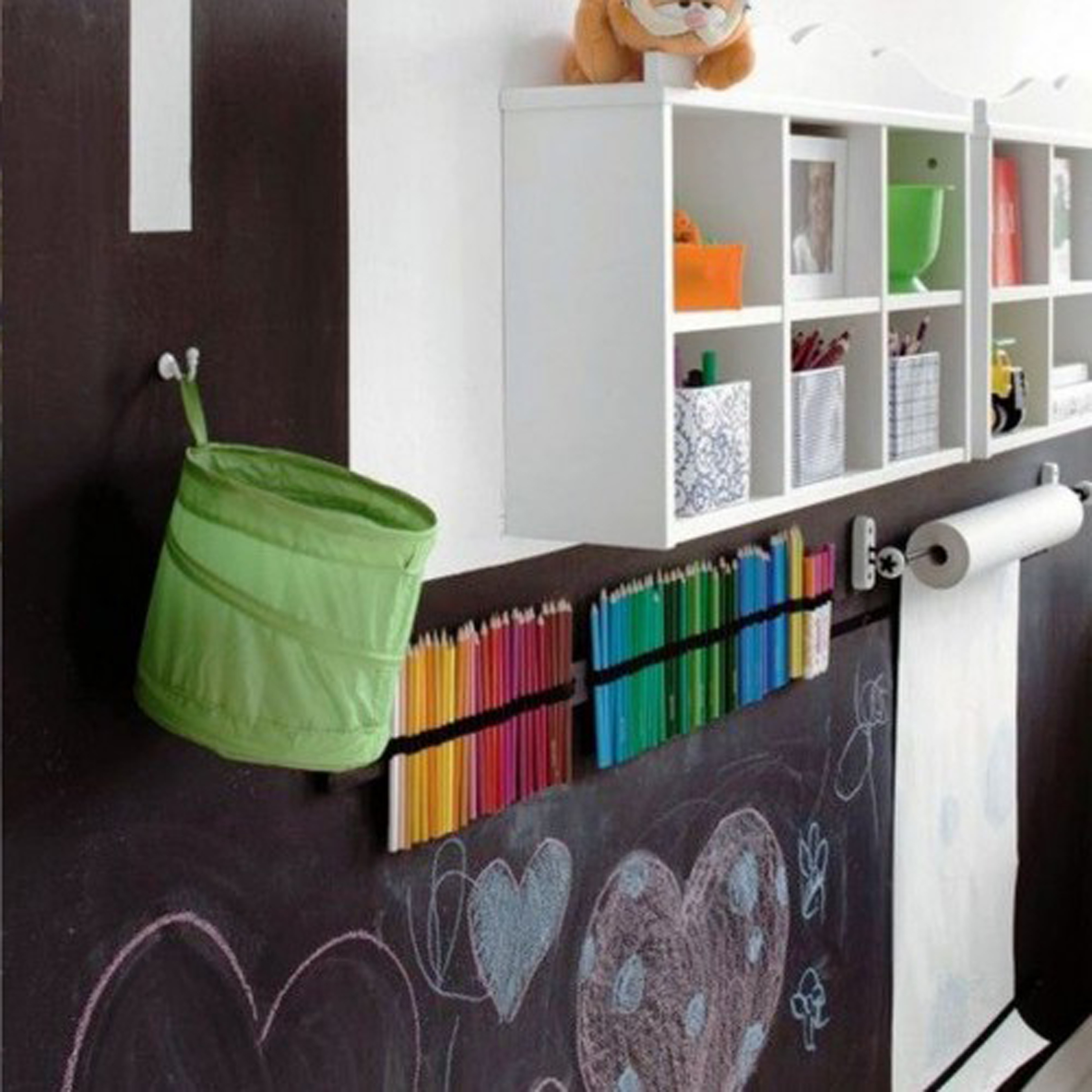 Kids Room Decor With Unique Chalkboard Decoration And Pretty Wall Mounted Shelves Design For Saving Toys And Books Plus Agreeable Paper Roll For Kids Drawing Workspace (View 14 of 28)