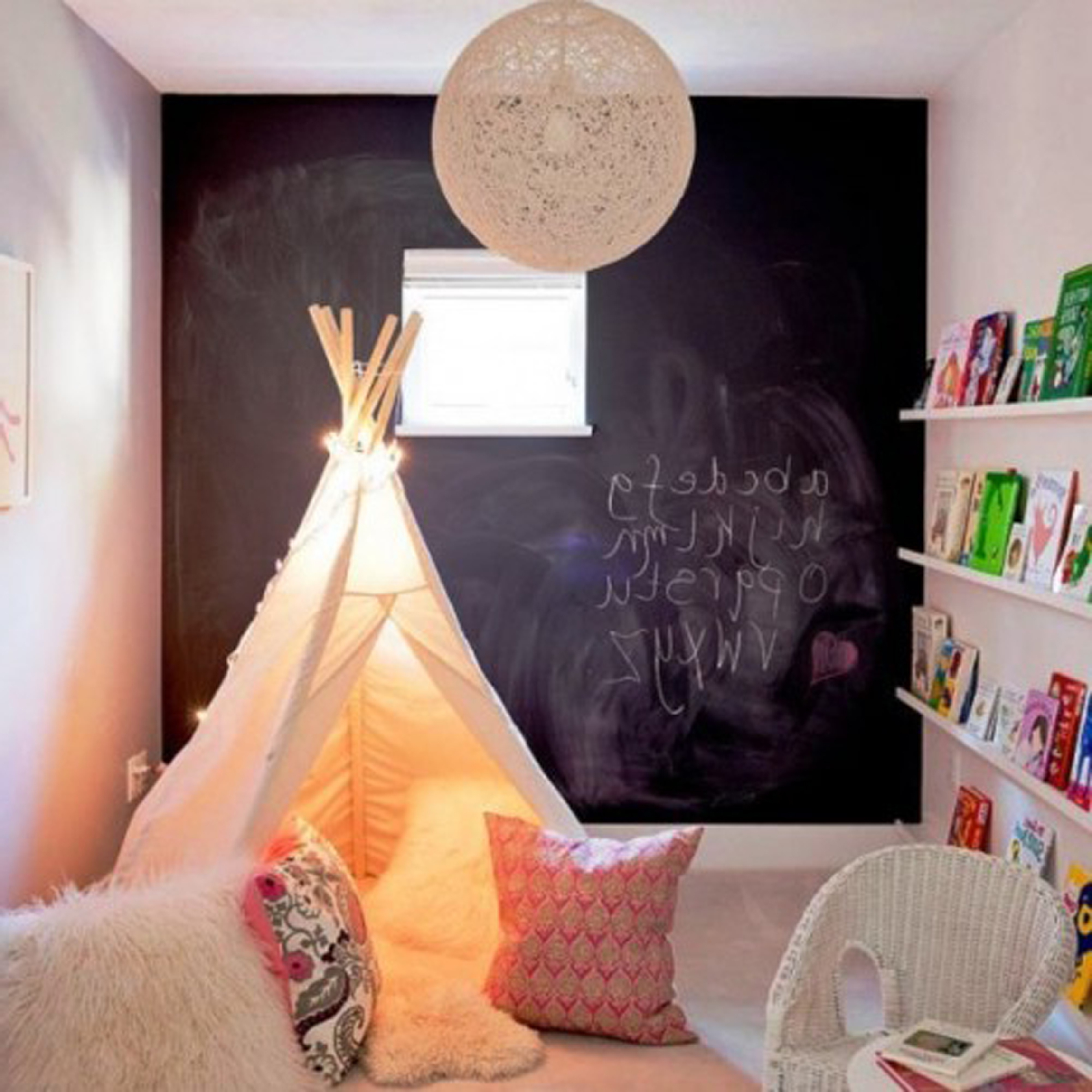 Kids Room Design With Cute Chalkboard Decoration Ideas Plus Entrancing Beige Kids Tent Model And Adorable Wall Shelves Plus Unique Pendant Lamp Design (View 15 of 28)