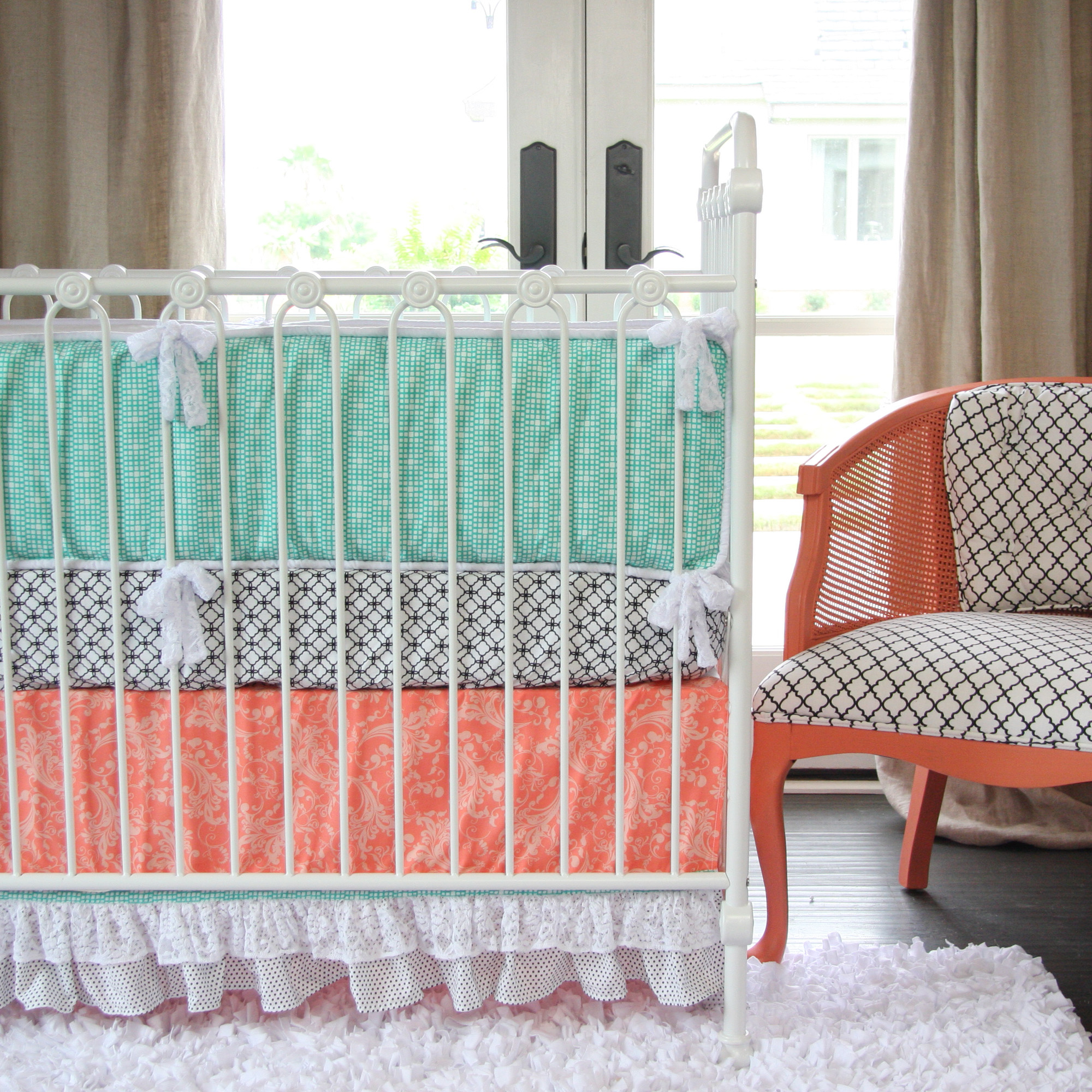 Kids Room Furniture Coral Baby Mod Crib Skirts Pair Perfectly With Blue Soft Nursery And White Metal Baby Rail Stylish Baby Mod Cribs (View 16 of 28)