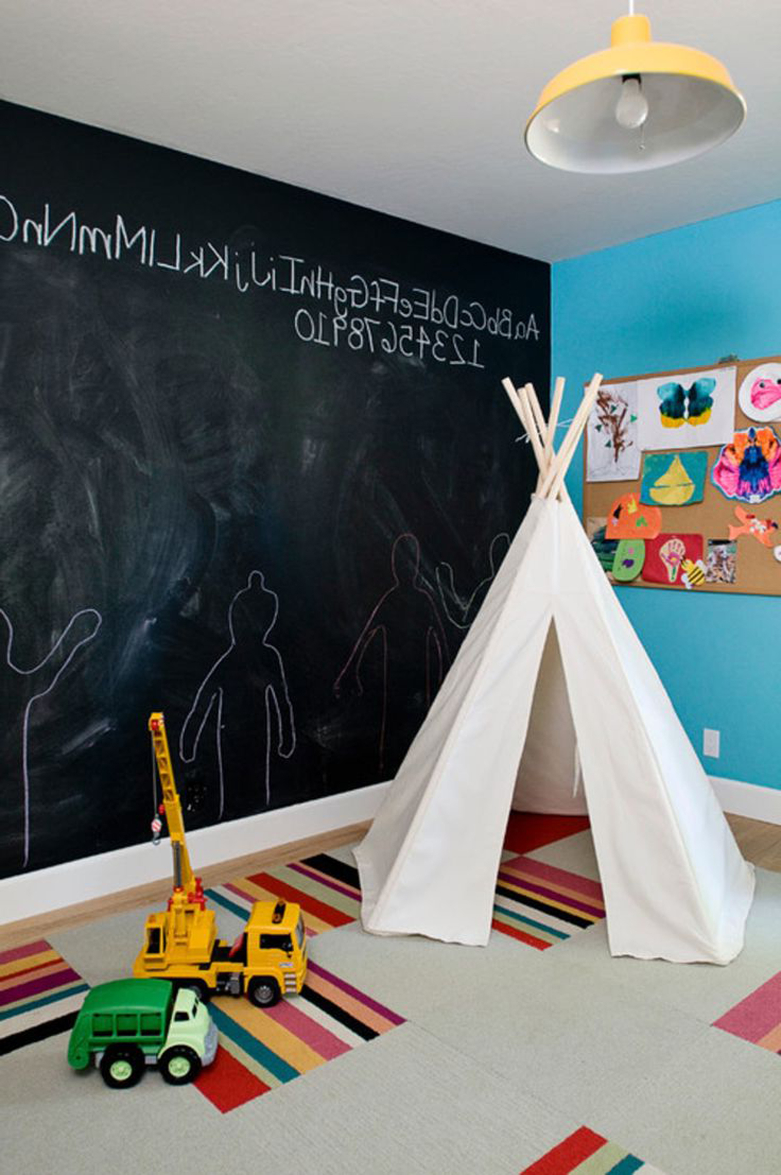 Kids Room Ideas With Cute White Kids Tent Ideas And Entrancing Chalkboar Wall Decoration Featuring Amusing Bright Blue Wall Colors And Artsy Retro Hanging Lamp Model (View 17 of 28)