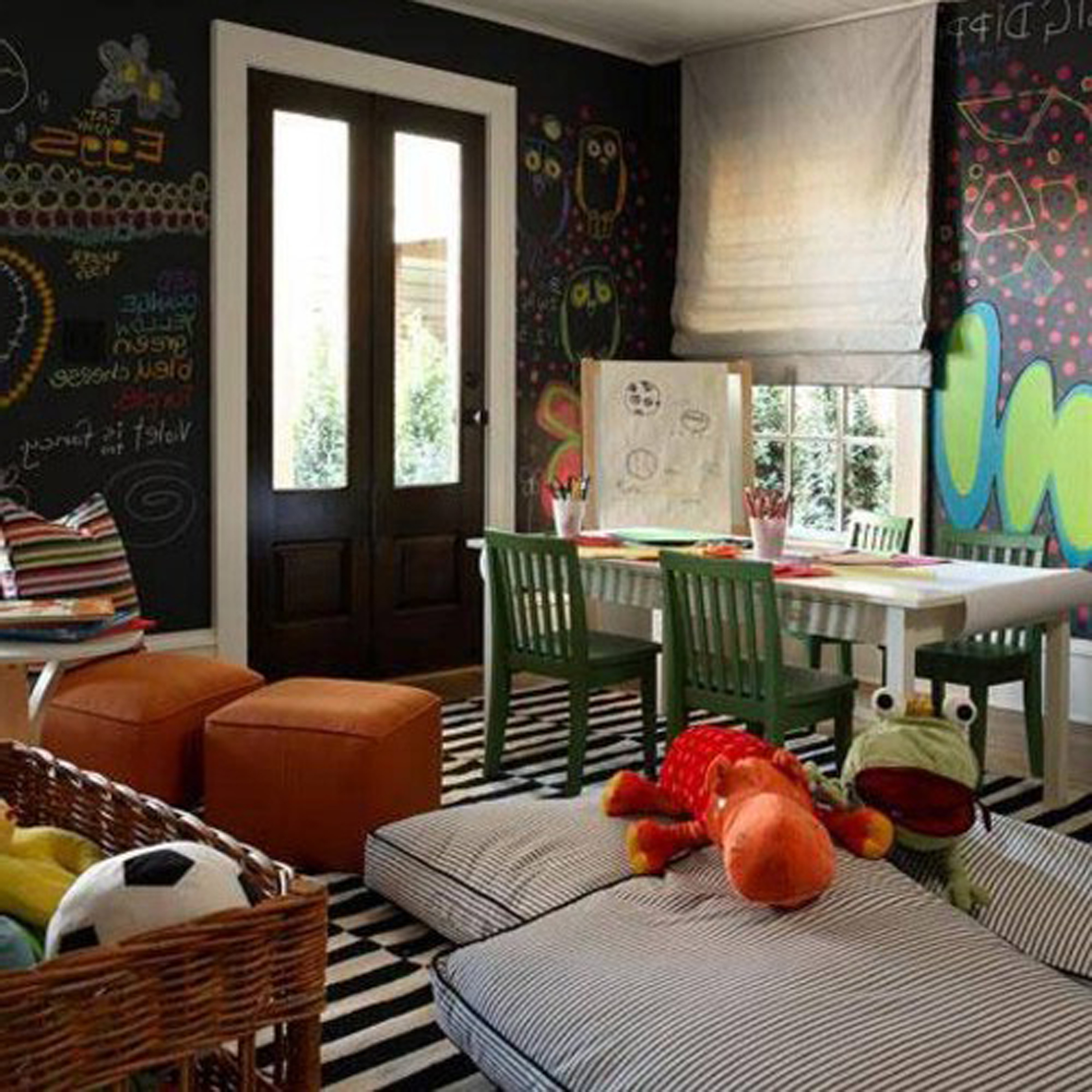 Kids Room Ideas With Fancy Blackand White Stripes Rug Pattern Plus Nice Brown Ottoman Design Also Endearing Chalkboard Decor For Cozy Kids Room Ideas (Image 28 of 28)
