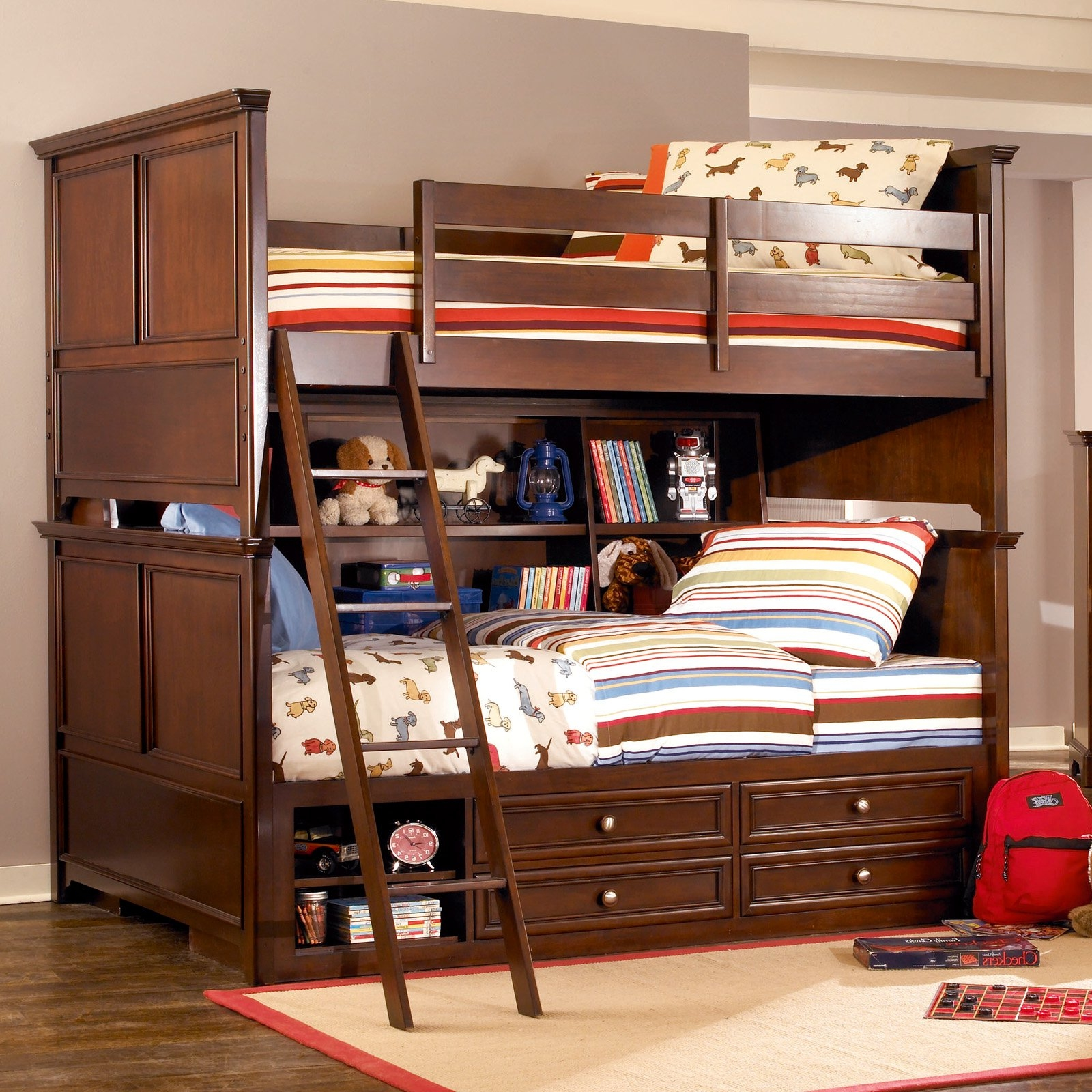 Kids Bedroom Furniture Elegant Dark Brown Wooden Bunk Bed With Full Bookcase Storage Design Wonderful Bookshelf Headboards Design Ideas What Everybody Ought (View 5 of 28)