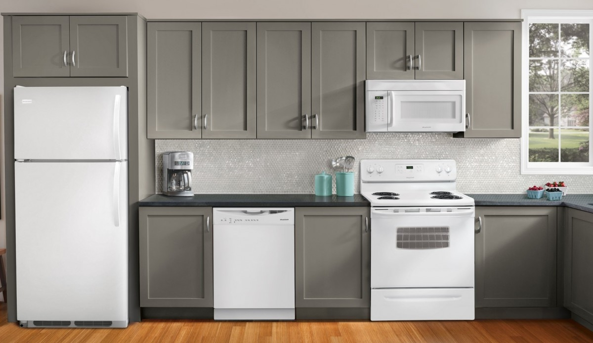 Kitchen Appliance Package Deals Costco Grey Kitchen Cabinet Grey Granite Countertop Laminated Wood Kitchen Floor White Backsplas Glass Tile Kitchen Wall White Kitchen Appliance Microwave (View 28 of 38)