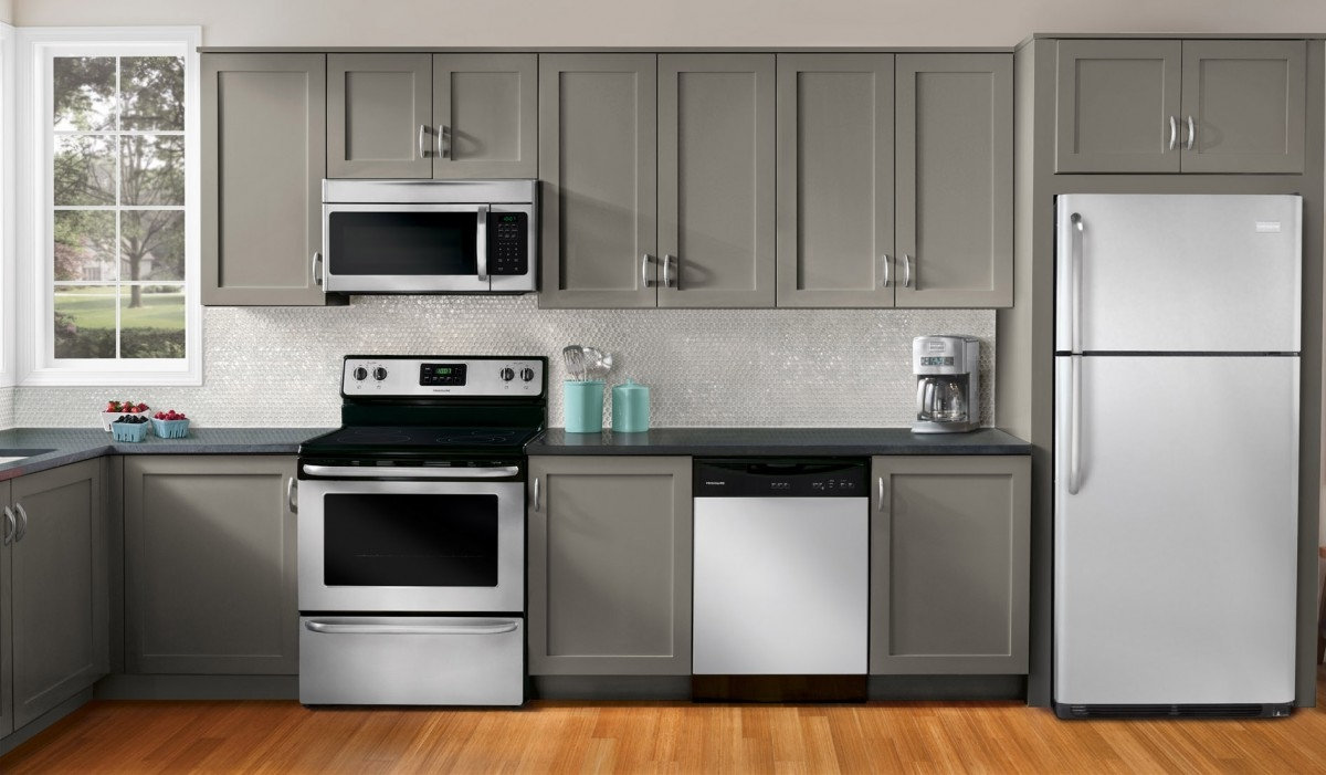 Kitchen Appliance Packages Grey Painted Colors Kitchen Cabinet Laminated Wood Kitchen Floor Grey Granite Countertop White Backsplas Glass Tile Kitchen Wall Stainless Steel Faucet White (View 32 of 38)