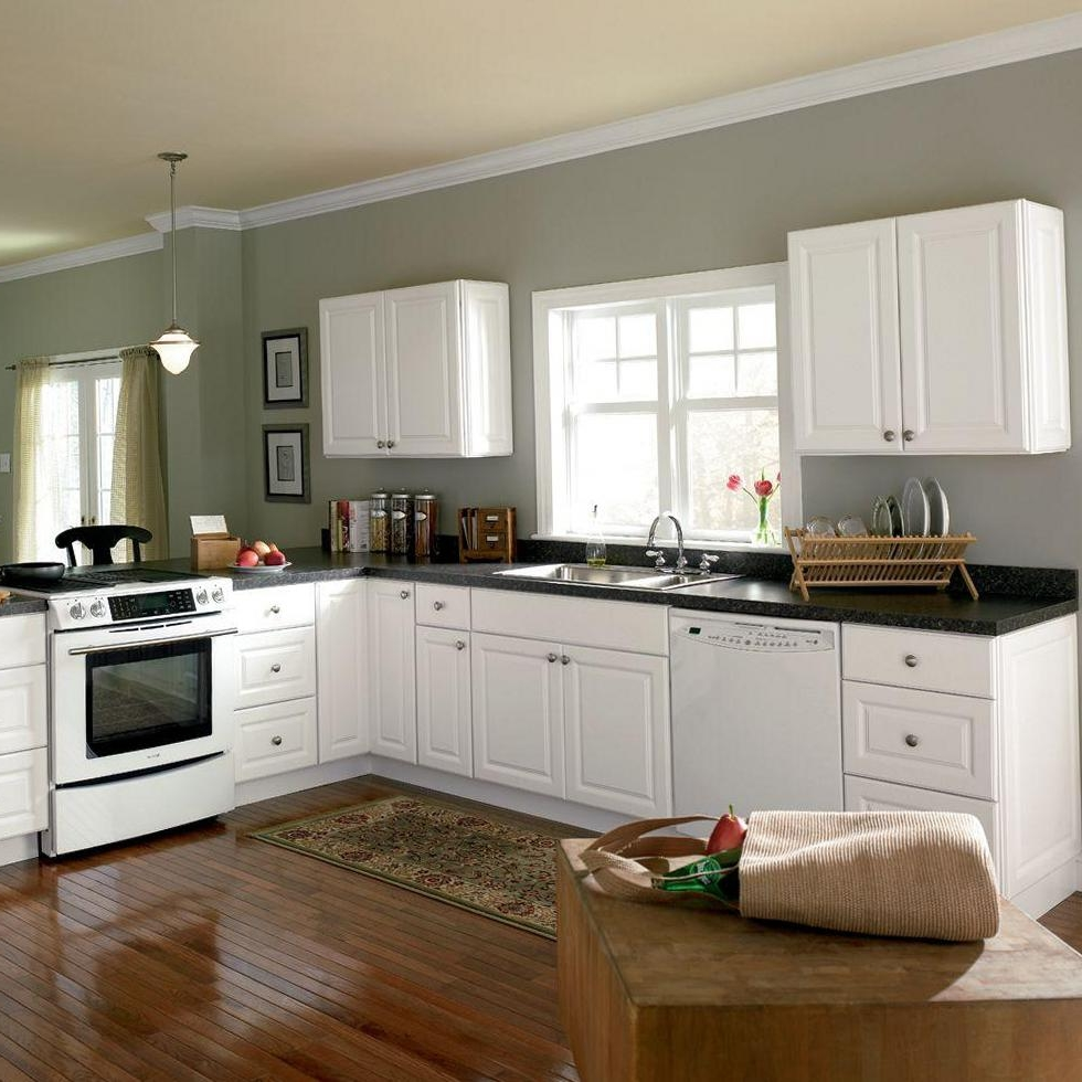 Kitchen Cabinets Home Depot Over The Laminated Wood Floor (Image 31 of 38)