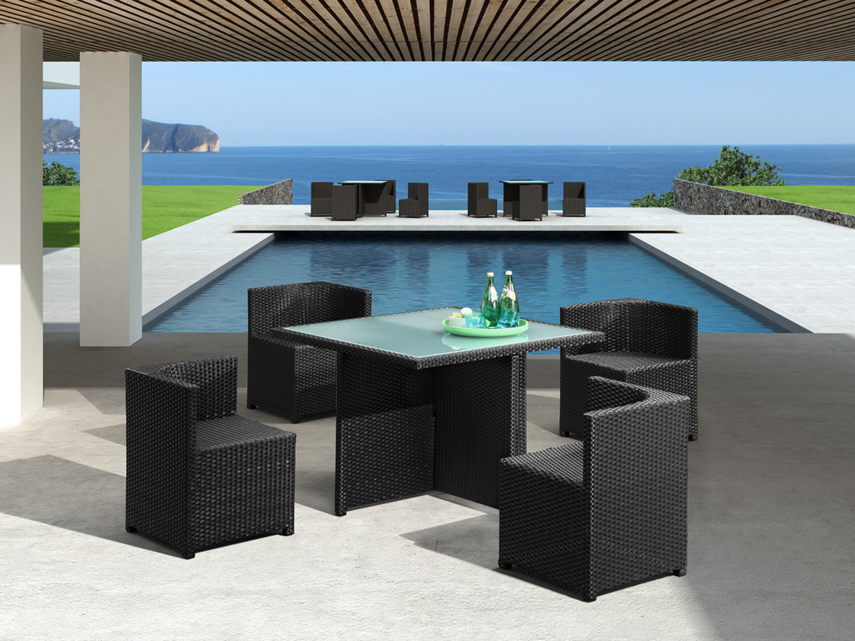 Lovely Outdoor Dining Set Idea With Black Table With Green Bottles And Black Chairs Admirable Outdoor Dining Set Ideas (View 16 of 20)