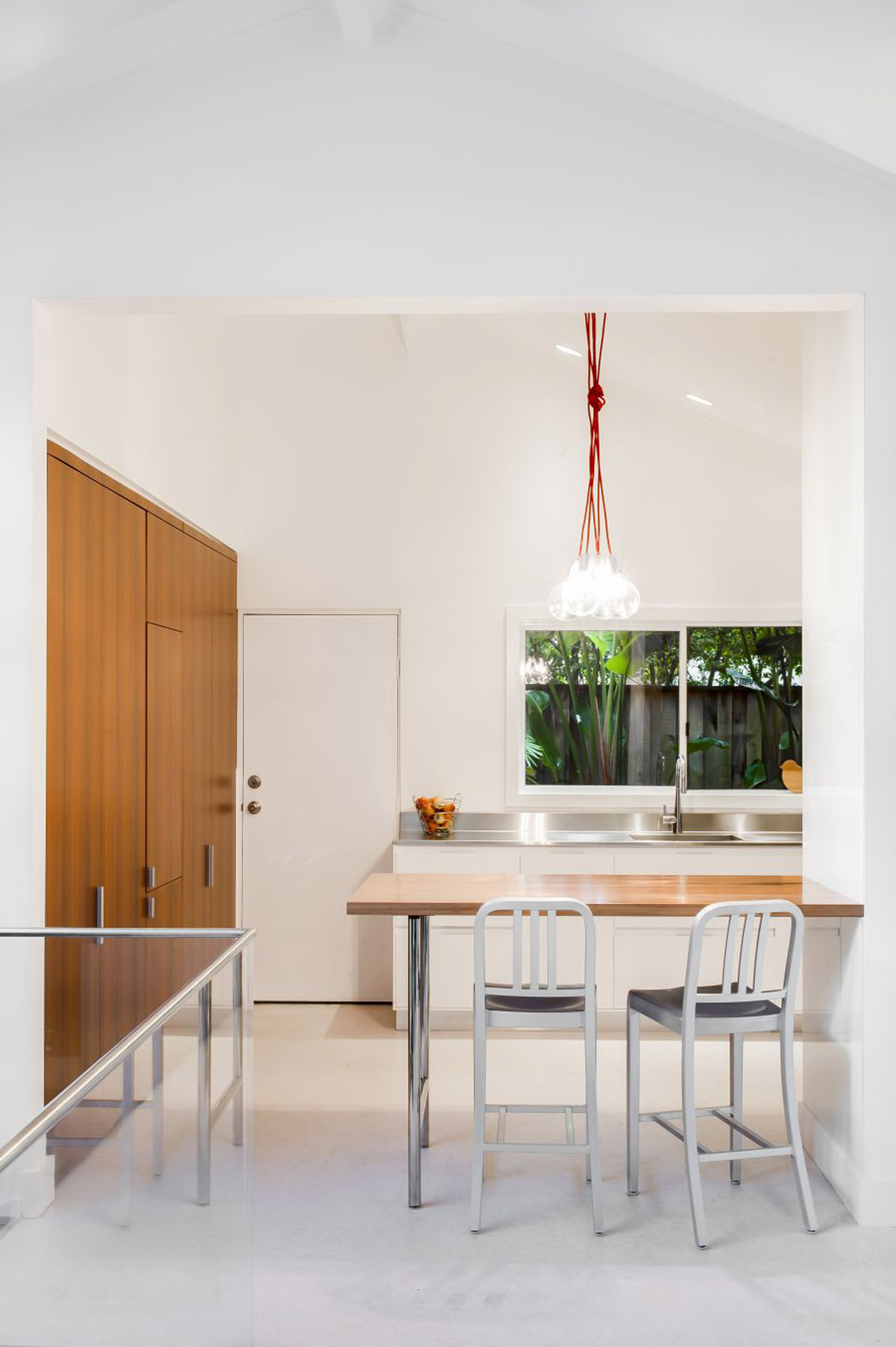 Minimalist Contemporary Kitchen And Dining Room With Cool Pendant Lamps And White Color Scheme Making Pendant Lights (Image 9 of 25)