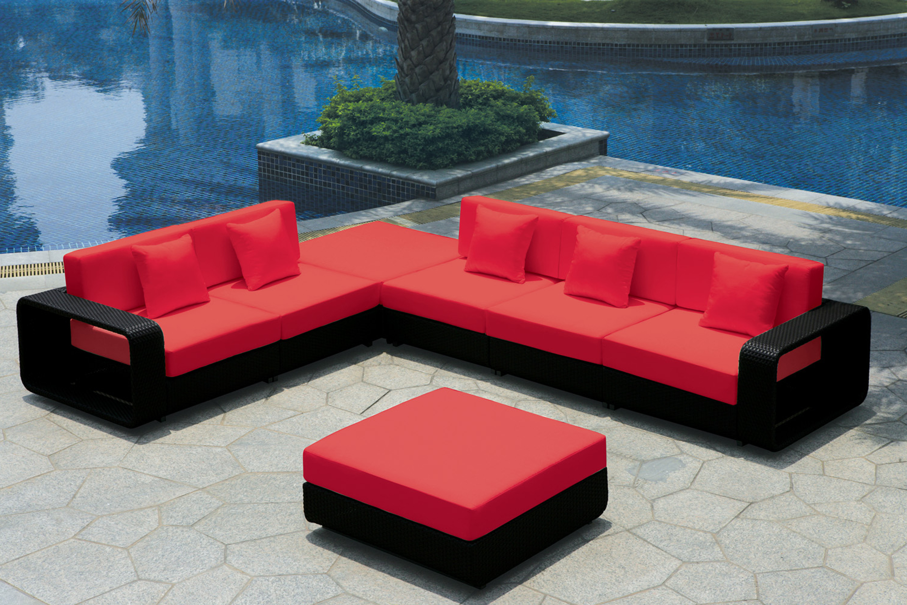 Minimalist Contemporary Outdoor Idea Wit Red Black Sofa With Red Throw Pillows And Red Black Coffee Table Great Contemporary Outdoor Ideas (Image 10 of 25)