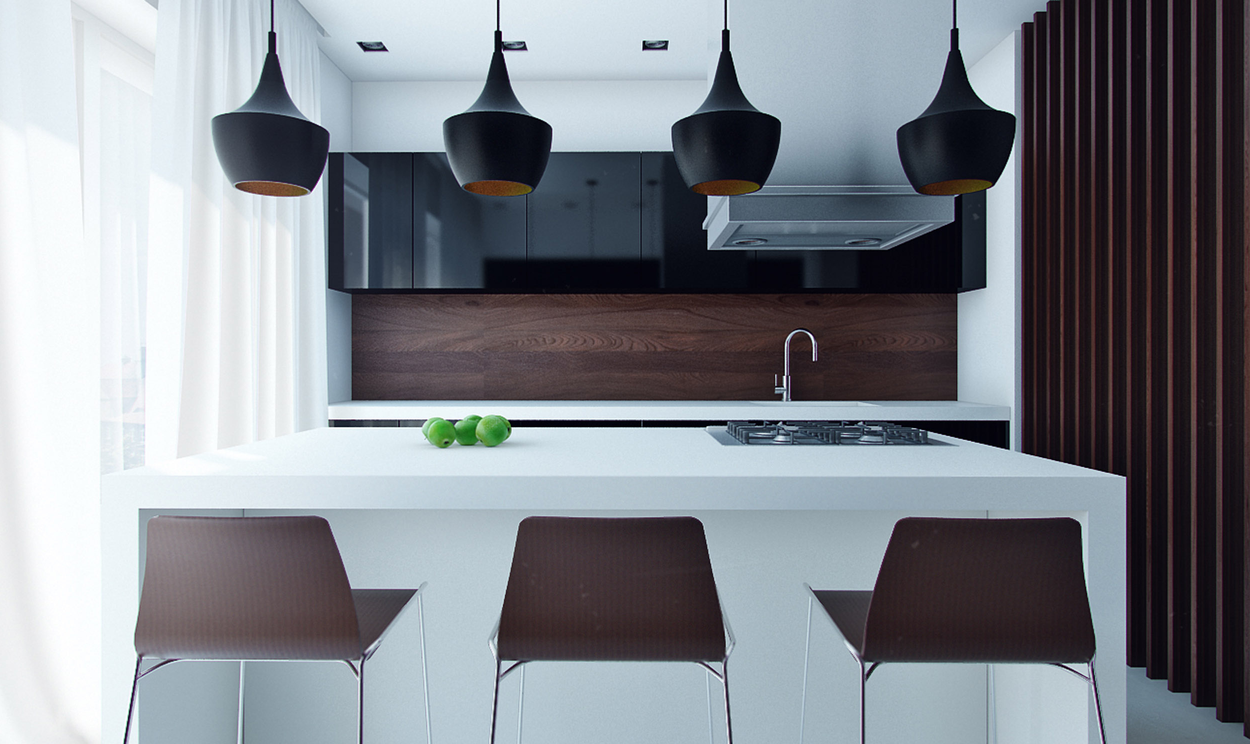 Minimalist Dark Chocolate Kitchen Designs With Black Hanging Lamp Famous Style Of Modern Kitchen Designs (Image 12 of 25)