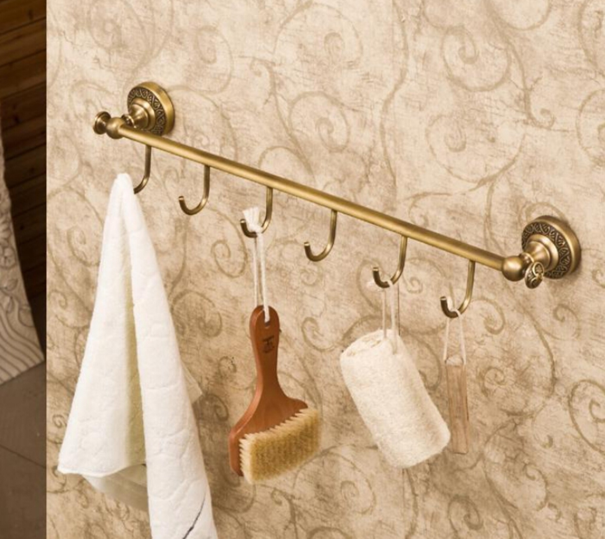 Minimalist Furniture Decorating Adorable Gold Coat Hanger Design For Bathroom With Brown Wall And White Towel Together With Brown Brush Innovative And Unique Coat Hanger Designs (Image 16 of 25)