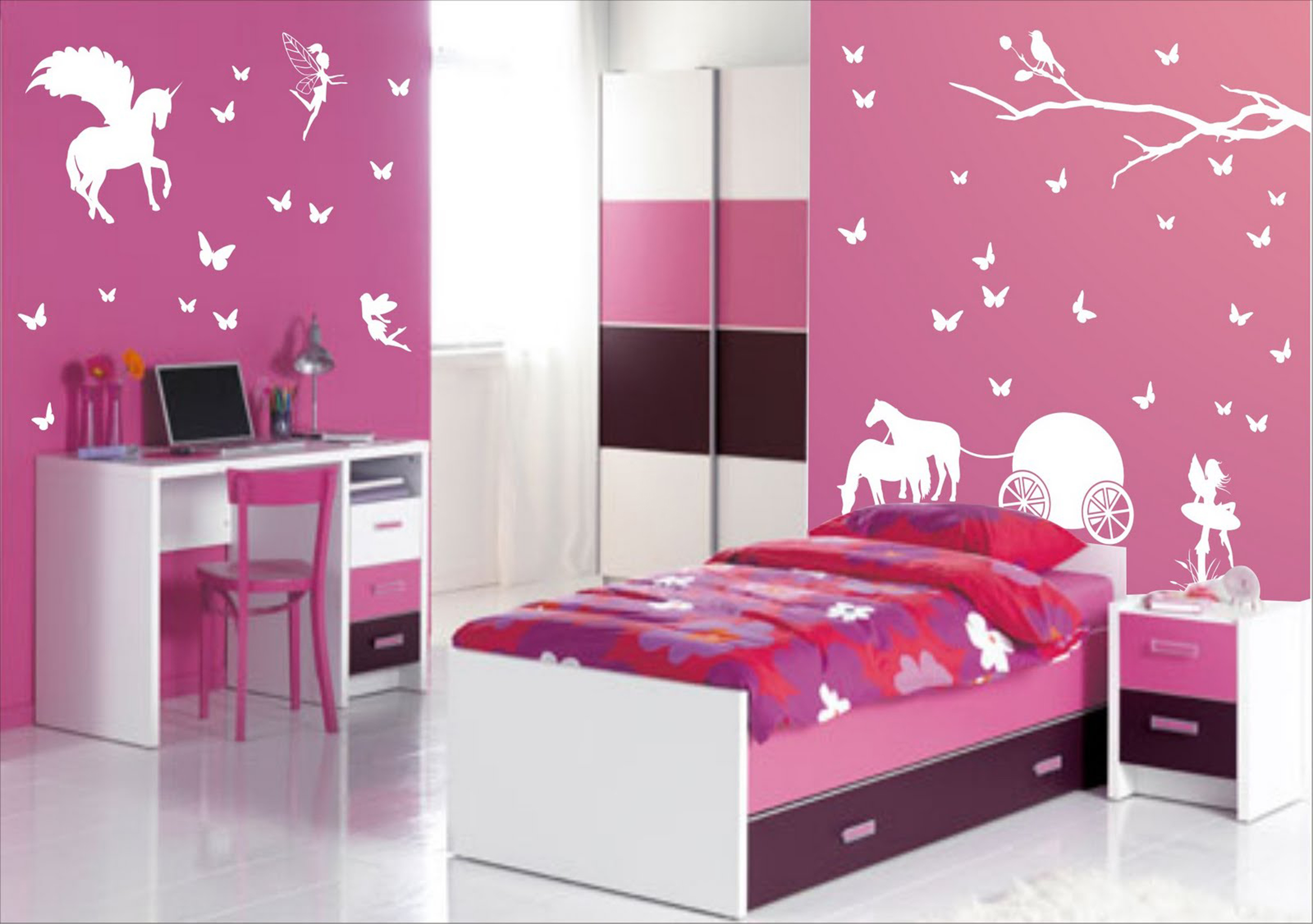 Minimalist Girls Design Red Bed Cover With Purple Floral Motive And White Study Table With Pink Chair Together With Pink Wall With White Butterfly Motive Cool Design Bedroom Ideas (View 1 of 25)