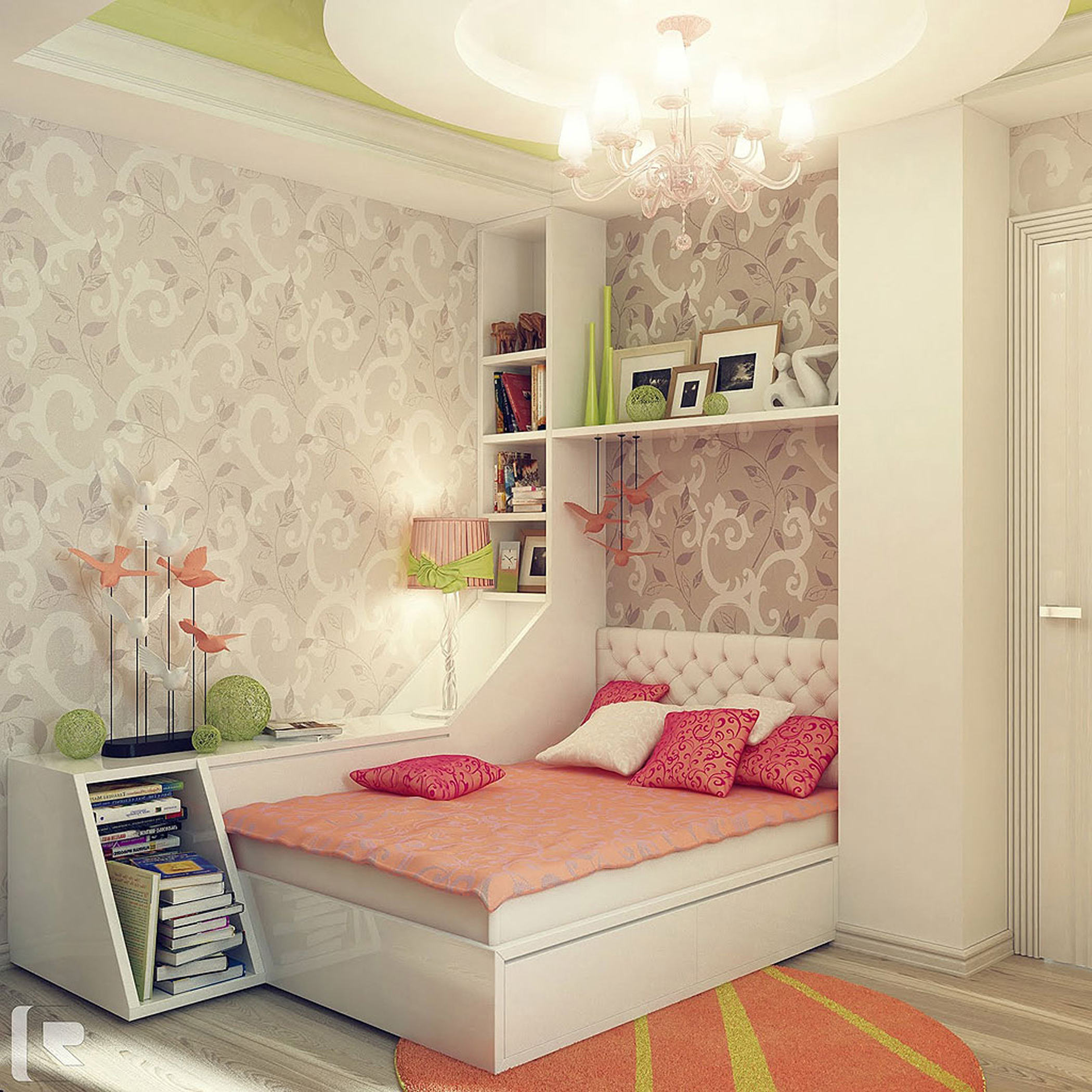 Minimalist Girls Design With White Bed Frame With Pink And White Pillows And Gray Wallpaper With White Open Shelf Along With White Chandelier Cool Design Bedroom Ideas For Girls Bedroom (View 2 of 25)