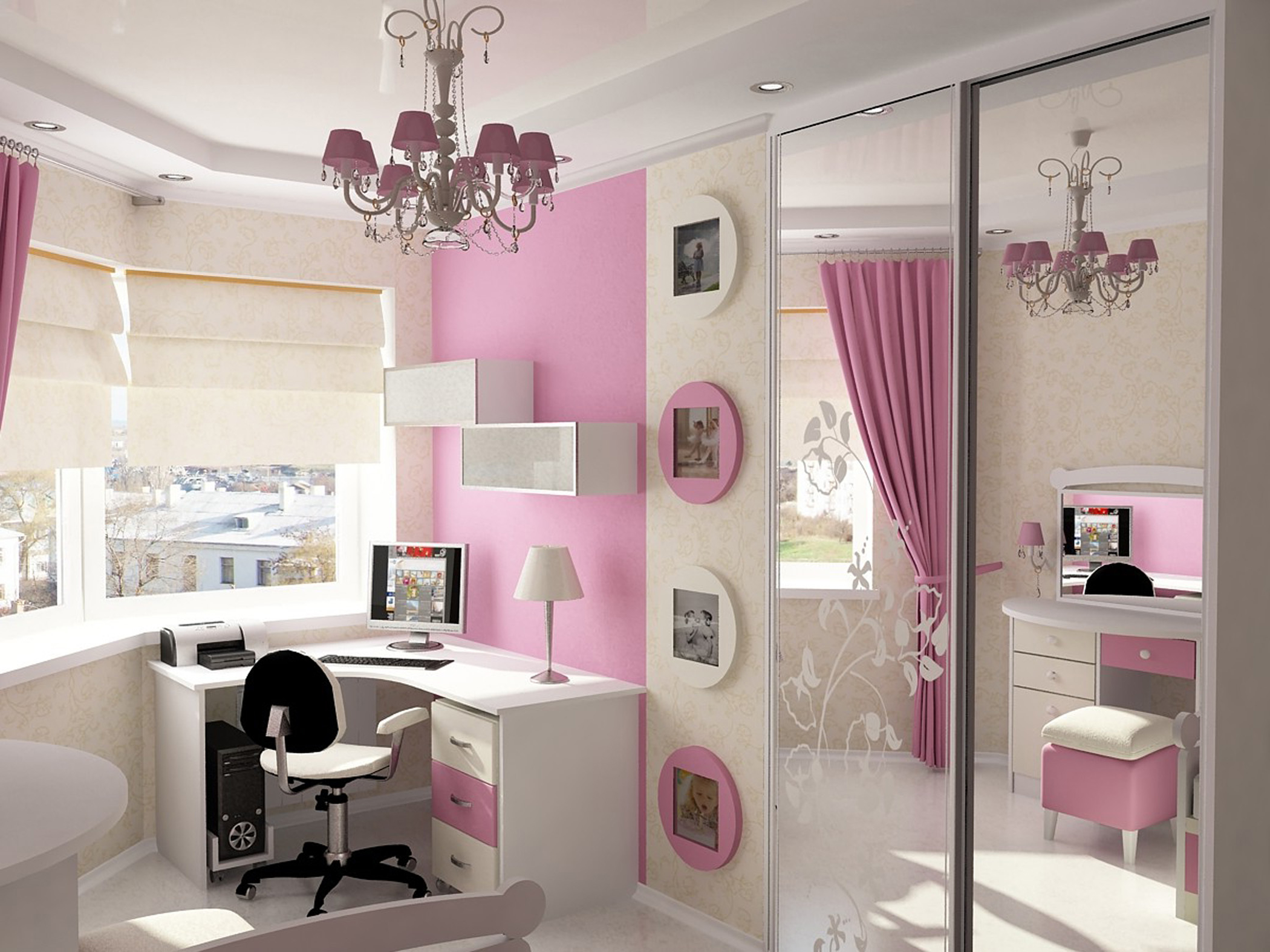 Minimalist Girls Design With White Study Table With White Desk Lamp And Pink Chandelier On The White Ceiling Along With Wardrobe With Sliding Door With Mirror Cool Design Bedroom Ideas (View 3 of 25)