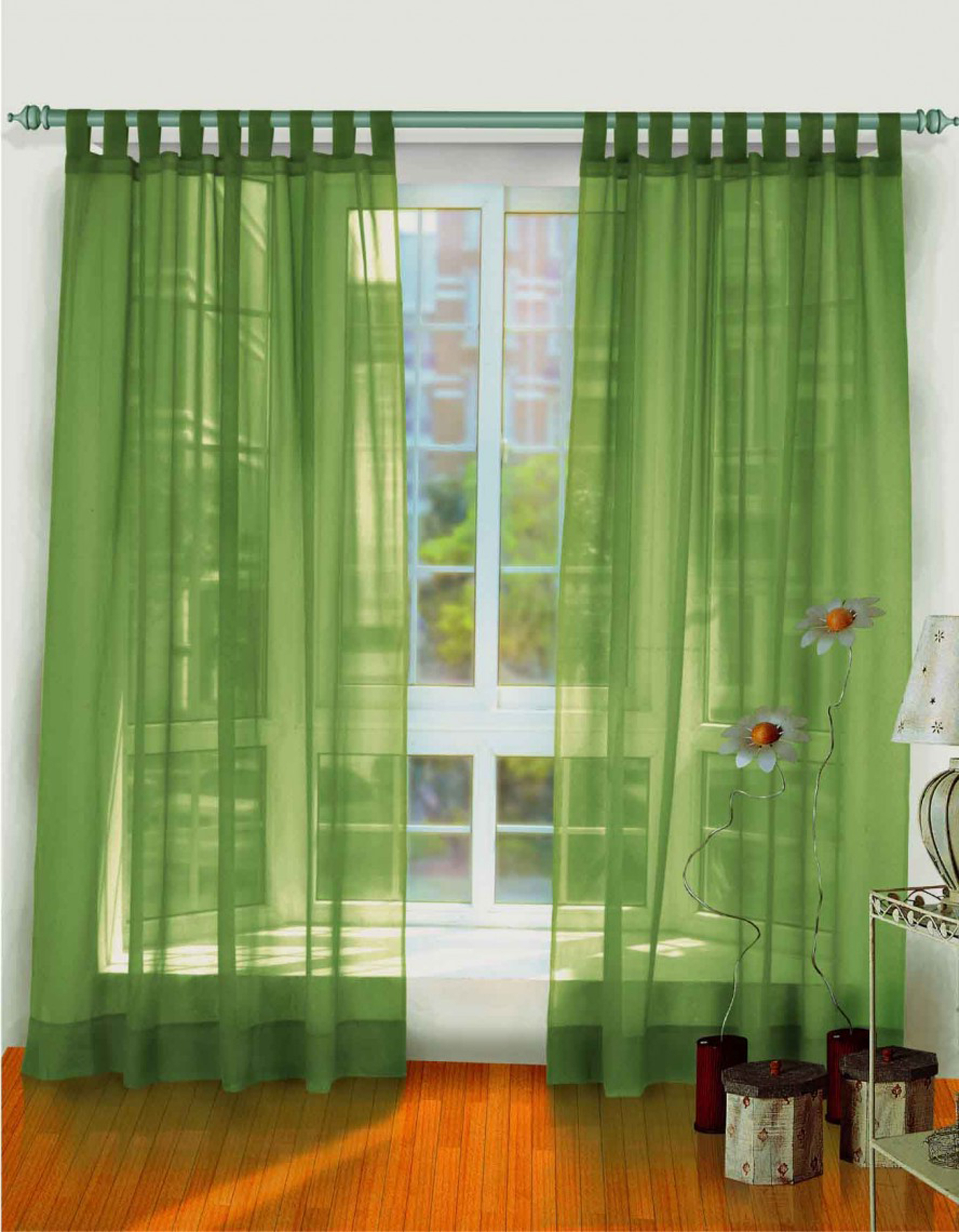Minimalist Green Window Curtain Design Idea With White Window Frame Luxurious Window Curtain Design Ideas (View 6 of 25)