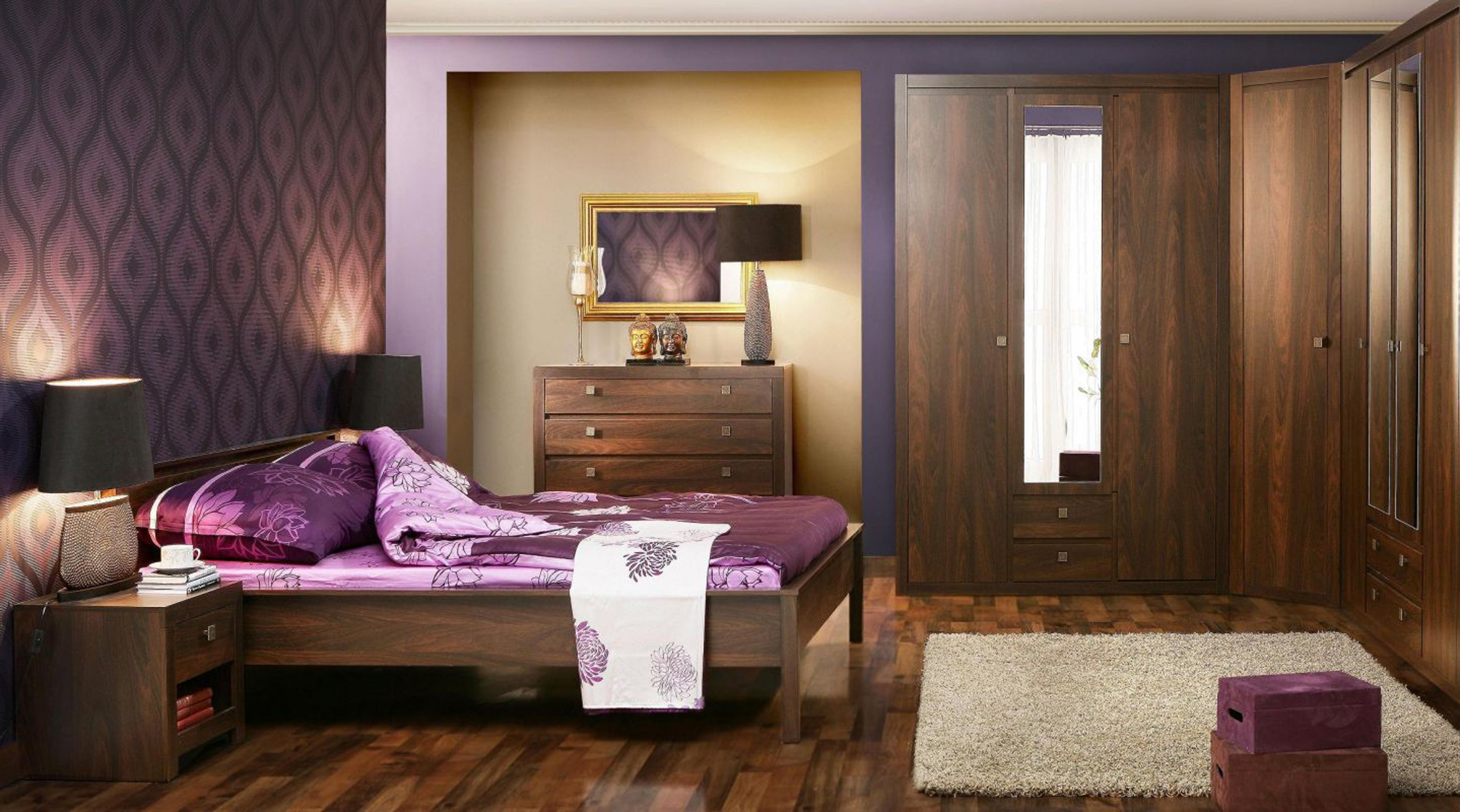 Minimalist Apartment Bathroom With Classic Furniture And Purple Wall Paint Color And Wooden Floor Minimalist Apartment Design (Image 3 of 25)