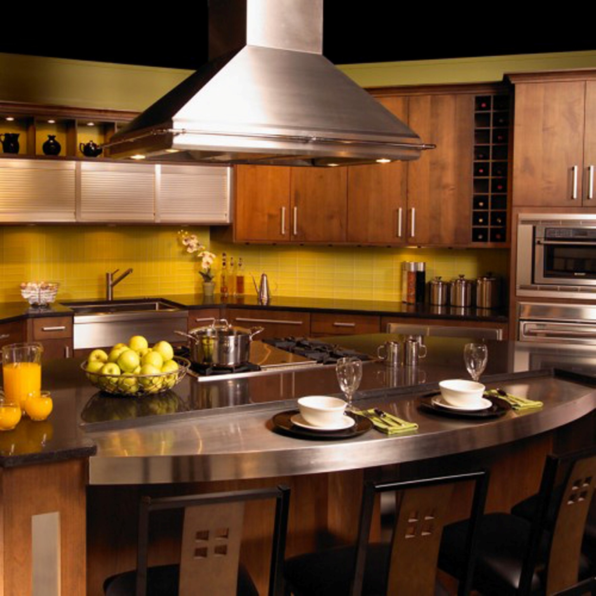 Modern Kitchen Design With Amaze Oval Kitchen Bar Design Plus Marvelous Yellow Backsplash Design (Image 21 of 31)