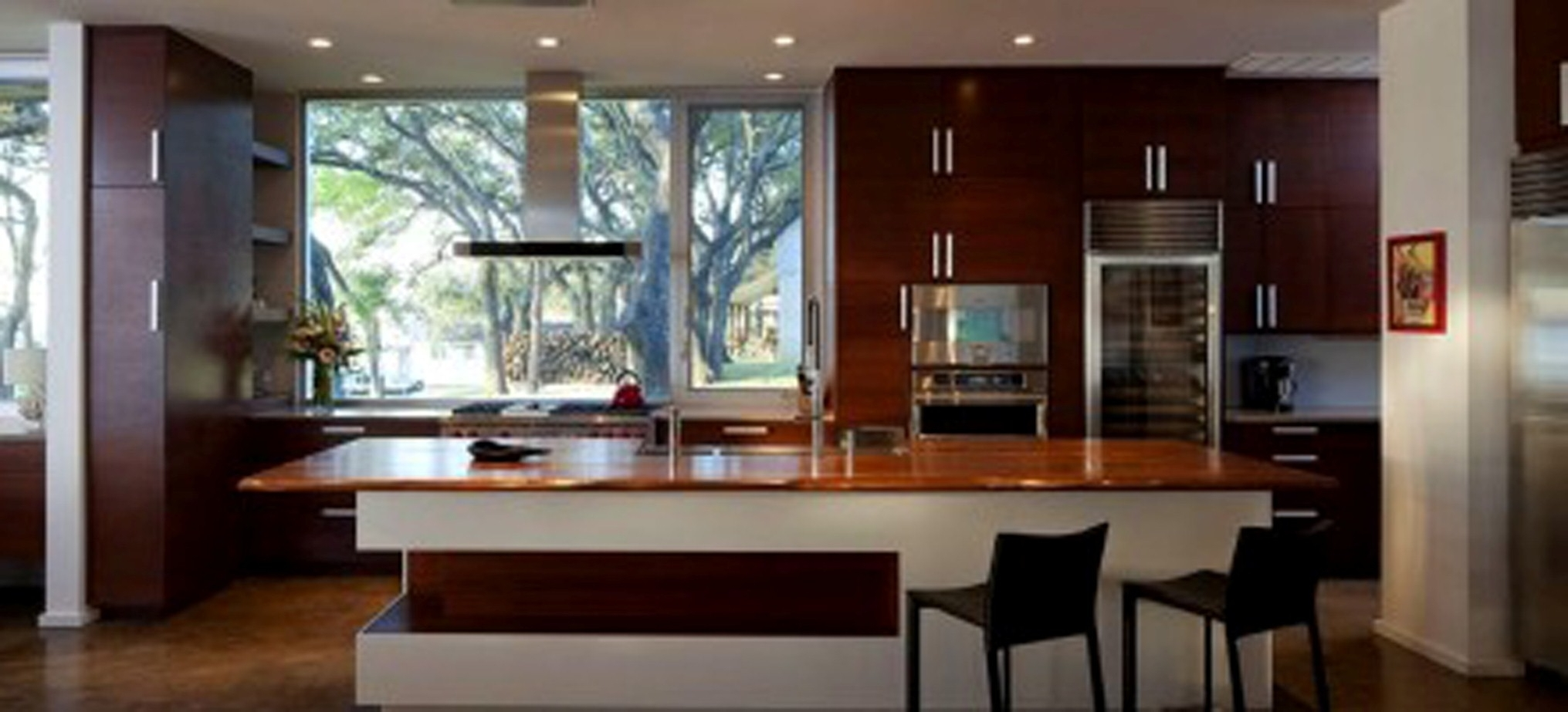 Modern Kitchen Design With Fabulous Wood Countertop Decor Also Handsome Black Seating Design (View 9 of 31)