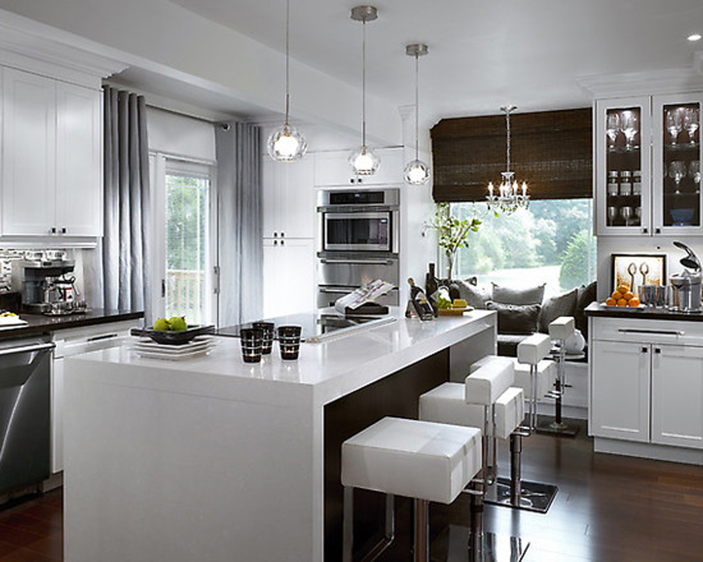 Modern Kitchen Design With White And Grey Interior Also Interesting Window Treatment Idea (View 10 of 31)