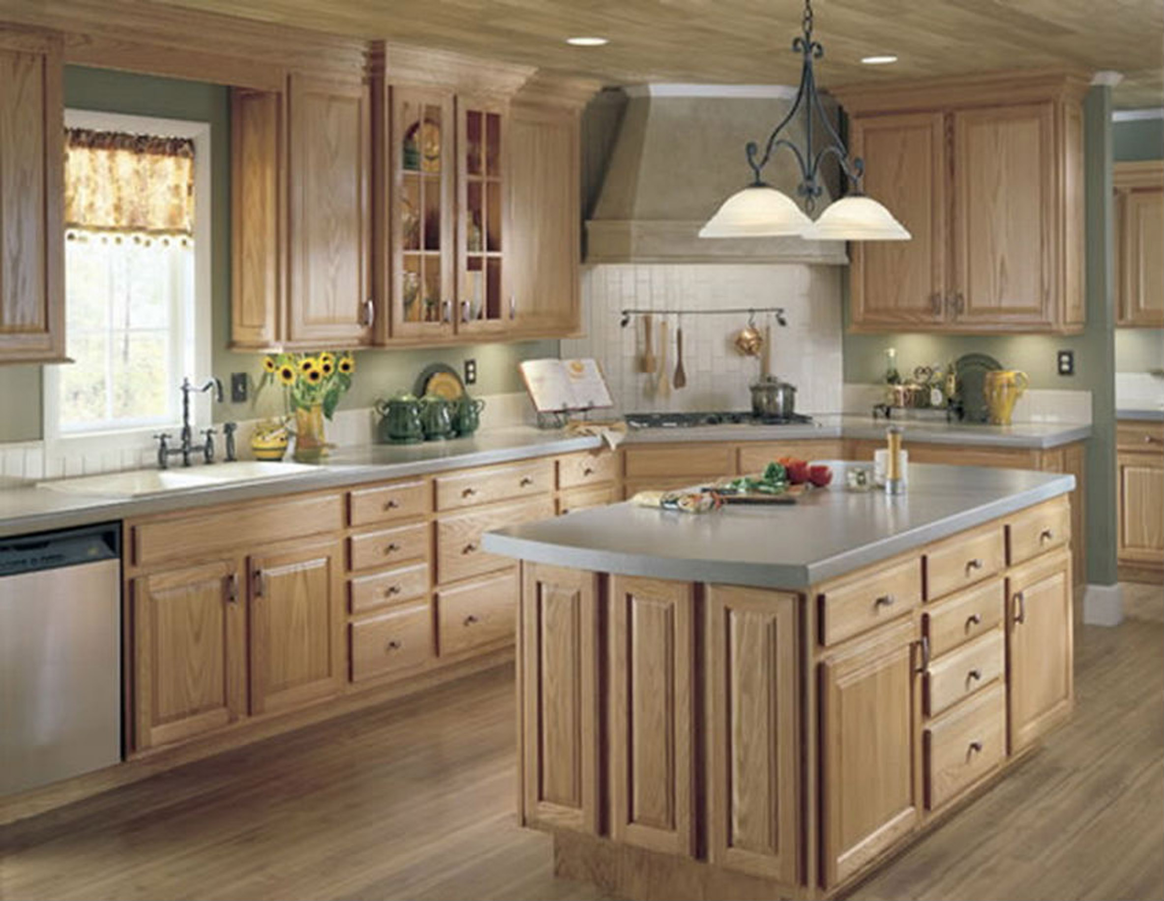Modern Kitchen Idea With Wooden Cabinets And Island And Wooden Floor Design A Kitchen Free Online (View 13 of 31)