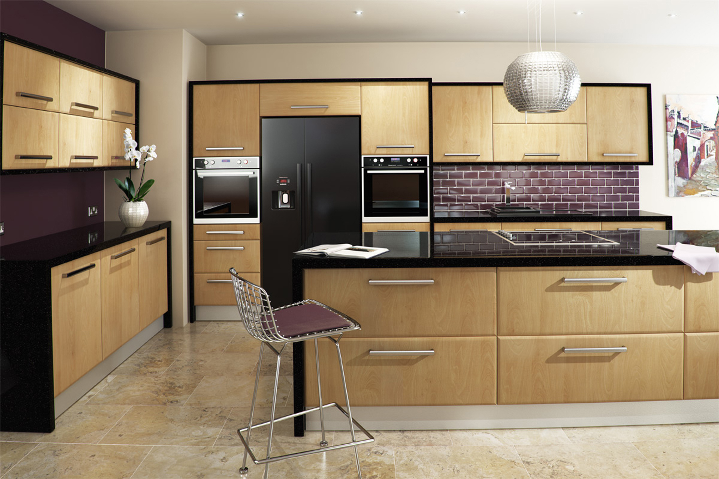 Modern Kitchen With Purple Color (Image 31 of 31)