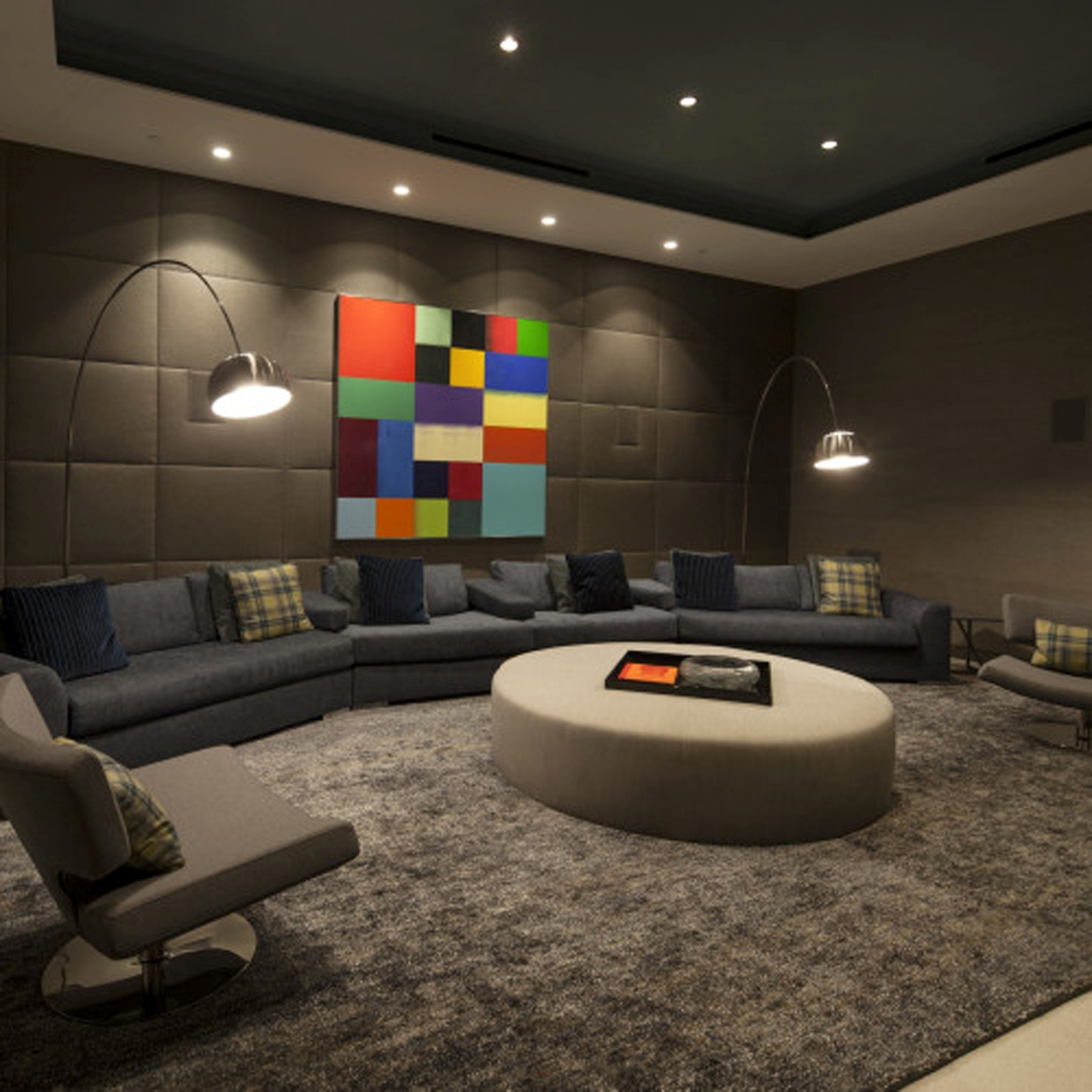 Modern Living Room Decorate With Fair Gray Low Sofa And Classic Brown Chair Design Plus Cool Arch Lamp (Image 2 of 30)