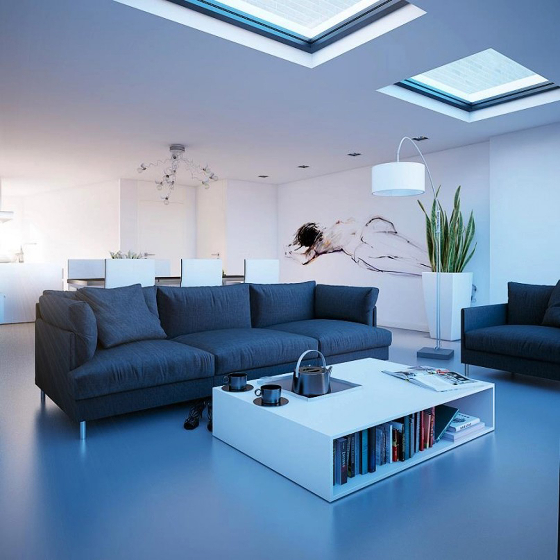 Modern Living Room Decoration With Black Sofas And Awesome White Living Table With Built In Electrical Stove Astonishing Living Rooms Design With Ceiling Window Skylight (View 22 of 30)