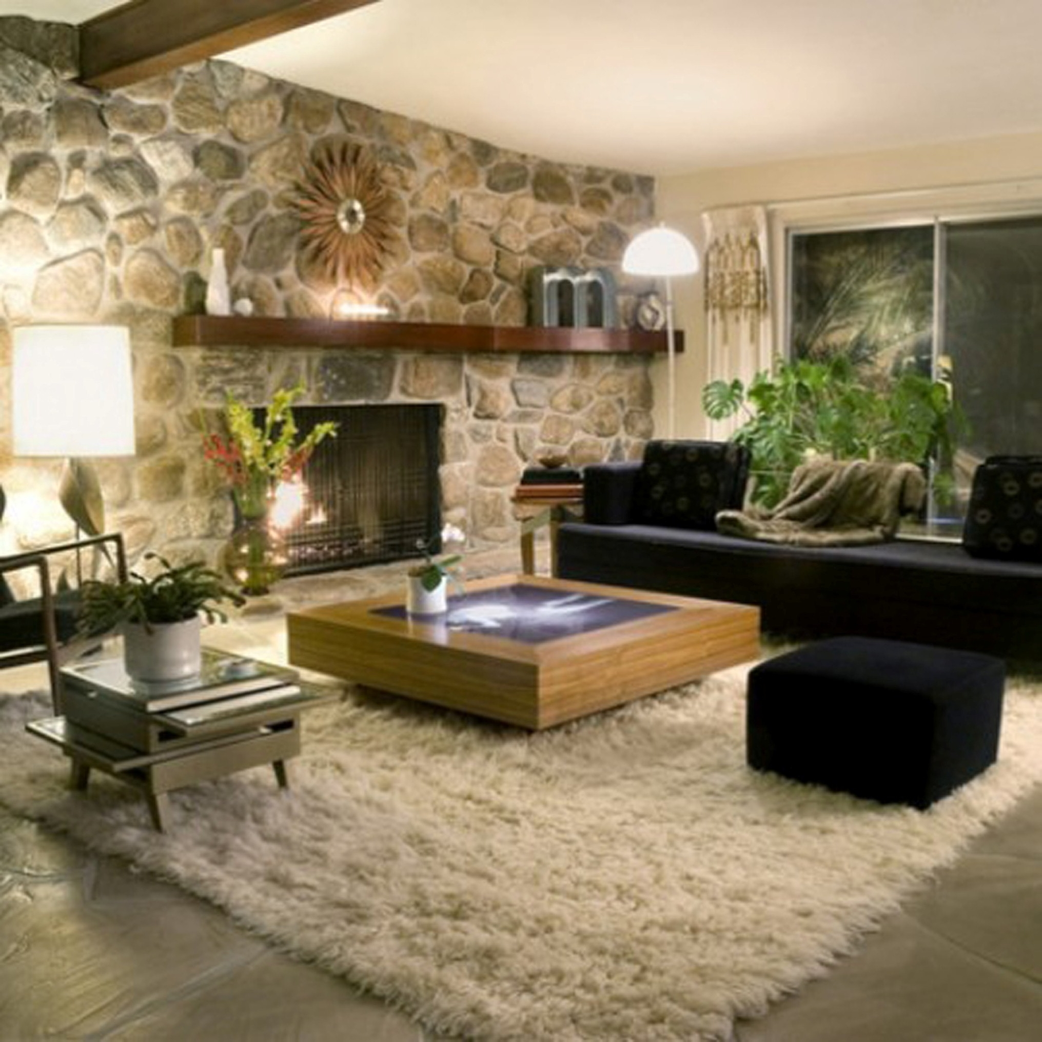 Modern Living Room Decoration With Sweet Black Fabric Sofa Design Even Charming Natural Stone Wall Decor (View 24 of 30)